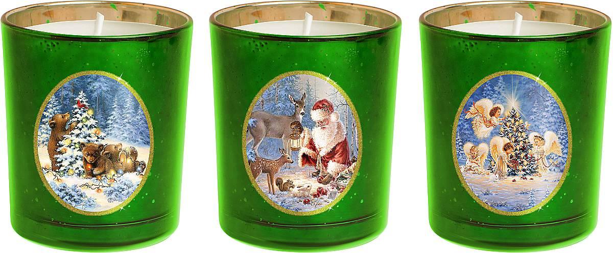 Набор новогодних свечей Mister Christmas Зимняя сказка, высота 7 см. KG-SET-1103600350902Новогодняя атмосфера - это долгожданная пора, которую ждет каждый. Разноцветные огни, веселая музыка, ожидание чудес. Сделать этот праздник более теплым поможет набор свечей Mister Christmas Зимняя сказка. Этот набор станет отличным новогодним подарком для ваших близких, друзей или коллег.В набор входят 3 свечки, которые выполнены из качественного воска. Свечи помещены в подсвечники из толстого стекла. На каждом подсвечнике - картинка с новогодним сюжетом: Дед Мороз в компании со своими оленями готовится к празднику в заснеженном лесу; медведи украшающие новогоднюю елку; ангелочки, которые вешают гирлянду на новогоднюю елку. Такие свечи празднично украсят любой интерьер. Их можно поставить на праздничный стол, на полку или окно. Ими можно украсить рабочее место в офисе. Они обязательно принесут с собой уют и тепло.