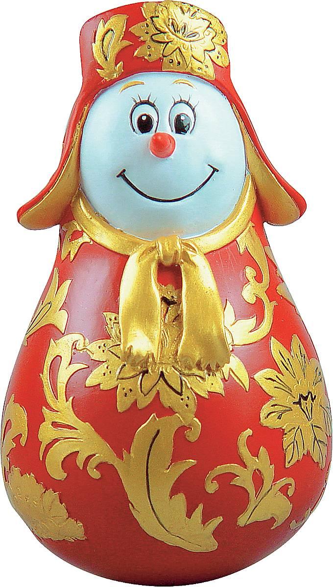 Фигурка-неваляшка новогодняя Mister Christmas Снеговик, цвет: красный, золотистый, высота 11 см. MKM-03US 6612234Новогодняя фигурка-неваляшка Mister Christmas Снеговик выполнена из высококачественного полистоуна и украшена хохломской росписью. Изделие представлено виде улыбчивого снеговика, который одет в шапку-ушанку и шарф. Игрушка изготовлена полностью вручную, что делает ее не только оригинальным, но эксклюзивным сувениром. Такая фигурка оформит интерьер вашего дома или офиса в преддверии Нового года. Кроме того, это отличный вариант подарка для ваших близких и друзей.Высота: 11 см.