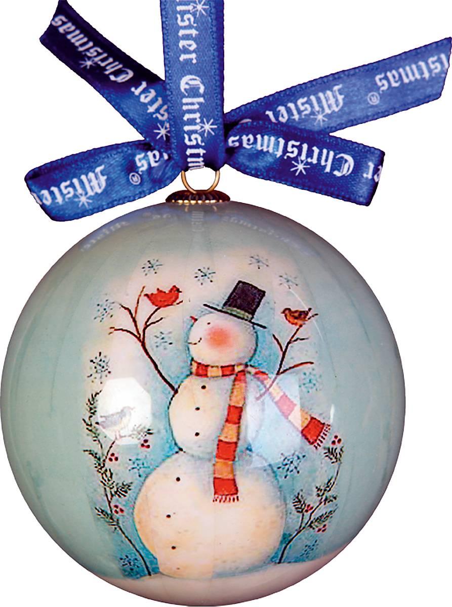 Украшение новогоднее подвесное Mister Christmas Папье-маше, диаметр 7,5 см. PM-1-1GUS 6102415Подвесное украшение Mister Christmas Папье-маше выполнено по технологии декоративного искусства papier-mache с изображением снеговика. Такой шар очень легкий, но в то же время удивительно прочный. На создание одной такой игрушки уходит несколько дней. И в результате получается настоящее произведение искусства! Изделие оснащено атласной ленточкой с логотипом бренда Mister Christmas для подвешивания. Такое украшение станет превосходным подарком к Новому году, а так же дополнит коллекцию оригинальных новогодних елочных игрушек.