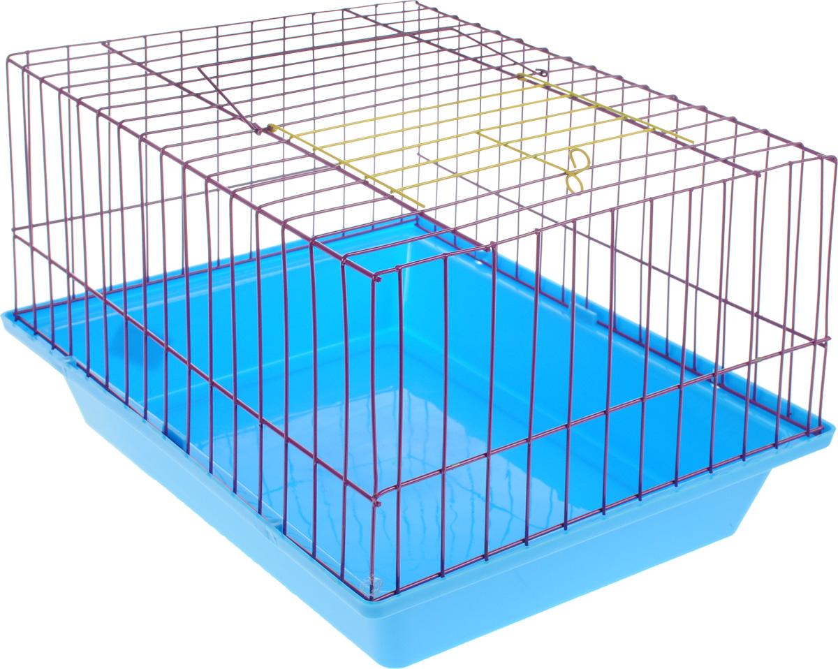 Клетка для морской свинки ЗооМарк, цвет: синий поддон, фиолетовая решетка, 41 х 30 х 25 см0120710Клетка ЗооМарк, выполненная из полипропилена и металла, подходит для морских свинок и других грызунов. Клетка имеет яркий поддон, удобна в использовании и легко чистится. Сверху имеется ручка для переноски. Такая клетка станет личным пространством и уютным домиком для вашего питомца.