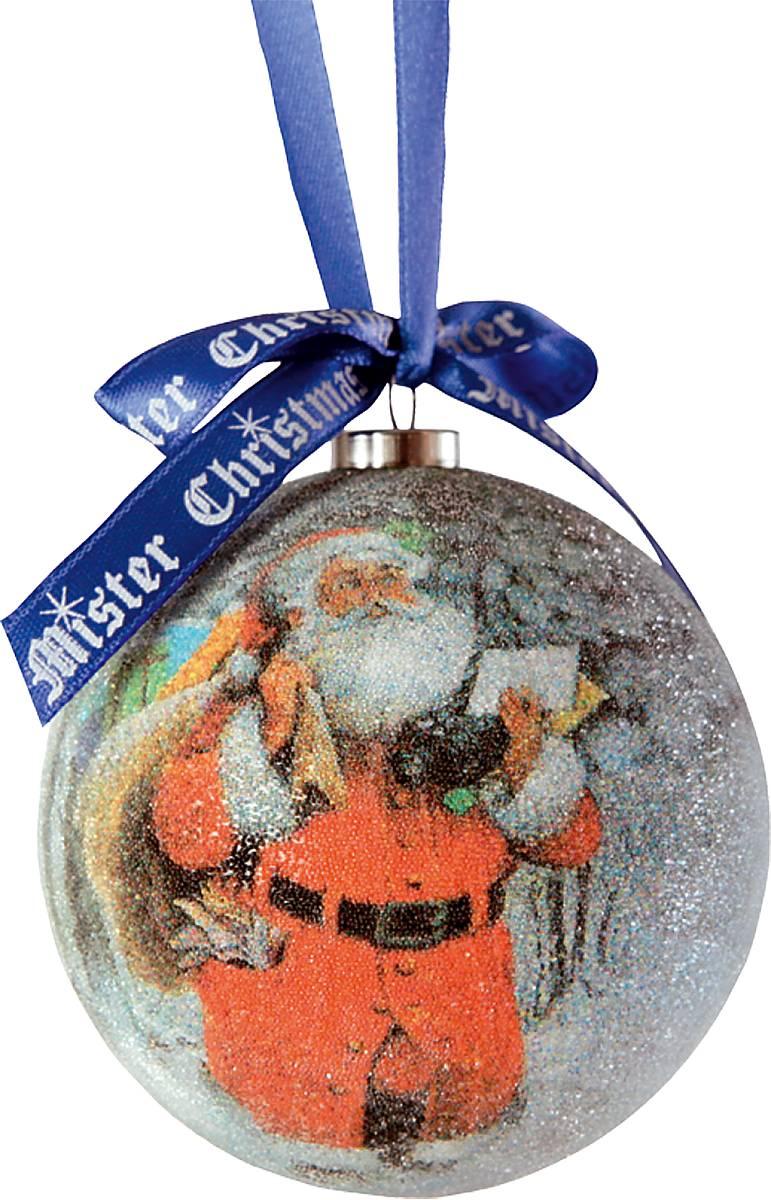 Украшение новогоднее подвесное Mister Christmas Папье-маше, диаметр 7,5 см. PM-15-1TГР- 6Подвесное украшение Mister Christmas Папье-маше выполнено вручную из бумаги и покрыто мелкой пластиковой крошкой. Такой шар очень легкий, но в то же время удивительно прочный. На создание одной такой игрушки уходит несколько дней. И в результате получается настоящее произведение искусства! Изделие оснащено атласной ленточкой с логотипом бренда Mister Christmas для подвешивания. Такое украшение станет превосходным подарком к Новому году, а так же дополнит коллекцию оригинальных новогодних елочных игрушек.