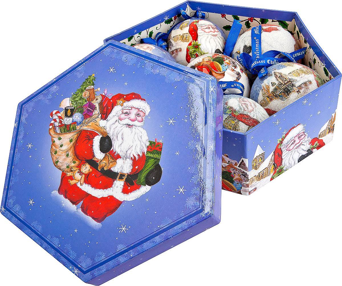 Набор новогодних подвесных украшений Mister Christmas Папье-маше, диаметр 7,5 см, 7 шт. PM-3-7NLED-454-9W-BKНабор Mister Christmas Папье-маше состоит из 6 подвесных украшений ручной работы, которые изготовлены из бумаги и покрыты несколькими слоями лака или мелкой пластиковой крошкой. Такие шары очень легкие, но в то же время удивительно прочные. На создание одной такой игрушки уходит несколько дней. И в результате получается настоящее произведение искусства! Все изделия оснащены атласной ленточкой с логотипом бренда Mister Christmas для подвешивания. Такие украшения станут превосходным подарком к Новому году, а так же дополнят коллекцию оригинальных новогодних елочных игрушек.