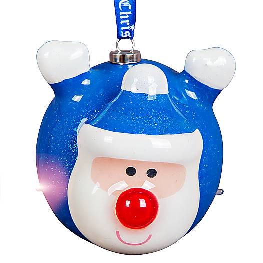 Украшение новогоднее подвесное Mister Christmas Папье-маше, с подсветкой, цвет: синий, белый, красный, диаметр 8 смUS 61024-31Подвесное украшение Mister Christmas Папье-маше выполнено в старинной технике папье-маше. Это искусство изготовления новогодних игрушек насчитывает уже немало веков и очень популярно во всем мире. Такой шар отличается прочностью и не боится случайных падений на пол, а также можно спокойно доверить в руки ребенку и не переживать об осколках. Изделие оснащено подсветкой в виде мерцающих огоньков и специальной металлической петелькой, в которую можно продеть нитку или ленту для подвешивания.Елочная игрушка - символ Нового года. Она несет в себе волшебство и красоту праздника. Создайте в своем доме атмосферу веселья и радости, украшая всей семьей новогоднюю елку нарядными игрушками, которые будут из года в год накапливать теплоту воспоминаний.