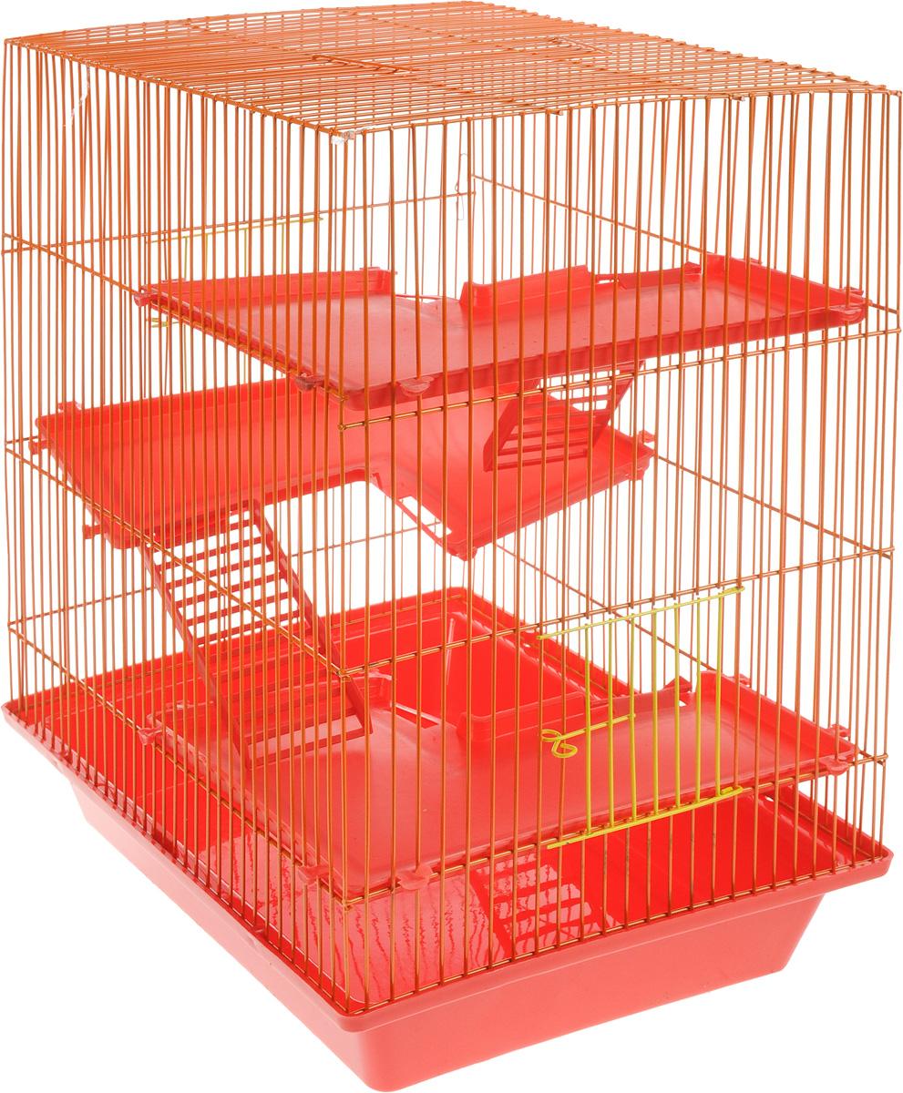 Клетка для грызунов ЗооМарк Гризли, 4-этажная, цвет: красный поддон, оранжевая решетка, красные этажи, 41 х 30 х 50 см0120710Клетка ЗооМарк Гризли, выполненная из полипропилена и металла, подходит для мелких грызунов. Изделие четырехэтажное. Клетка имеет яркий поддон, удобна в использовании и легко чистится. Сверху имеется ручка для переноски. Такая клетка станет уединенным личным пространством и уютным домиком для маленького грызуна.