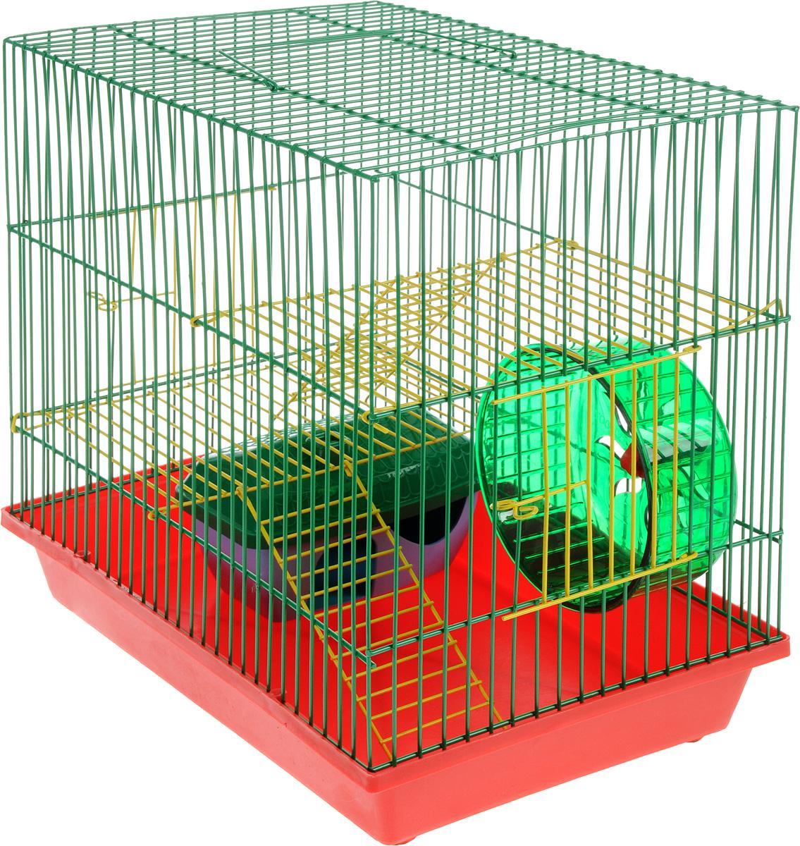 Клетка для грызунов ЗооМарк, 3-этажная, цвет: красный поддон, зеленая решетка, желтые этажи, 36 х 23 х 34,5 см. 135ж240КФКлетка ЗооМарк, выполненная из полипропилена и металла, подходит для мелких грызунов. Изделие трехэтажное, оборудовано колесом для подвижных игр и пластиковым домиком. Клетка имеет яркий поддон, удобна в использовании и легко чистится. Сверху имеется ручка для переноски. Такая клетка станет уединенным личным пространством и уютным домиком для маленького грызуна.