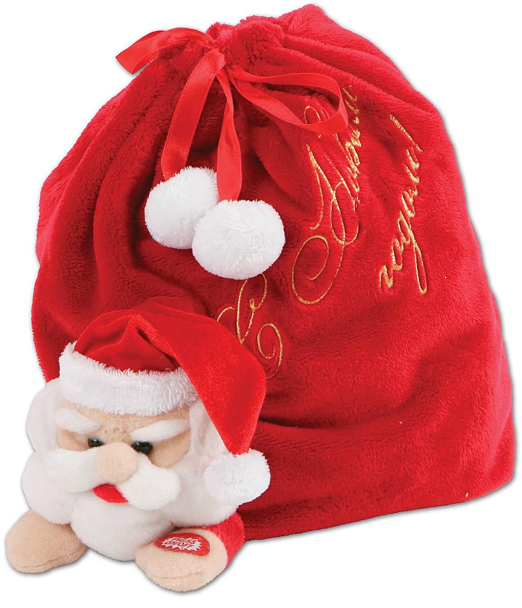 Мешок для подарков Mister Christmas С Новым годом, длина 22 смC0038550Купили новогодний подарок, но не знаете, как его упаковать? Оригинальной упаковкой станет новогодний музыкальный мешок для подарков Mister Christmas С Новым годом. Он уже выглядит как подарок благодаря своей функциональности. Он представляет собой композицию: Дед Мороз, который несет огромный мешок с подарками. А если пожать руку Дедушке Морозу, то он начнет издавать забавные звуки. Музыкальный мешок сделан из качественного мягкого текстиля красного цвета, очень приятного на ощупь. Закрывается при помощи атласных тесемок, украшенных белыми пушистыми помпонами. Он напоминает плюшевую игрушку. Новогодний музыкальный мешок для подарков Mister Christmas подойдет для упаковки небольших символических или весьма дорогих сюрпризов. Получить подарок в такой уникальной и модной упаковке будет приятно как детям, так и взрослым. Никто не останется равнодушным и каждый обязательно будет тронут таким знаком внимания.