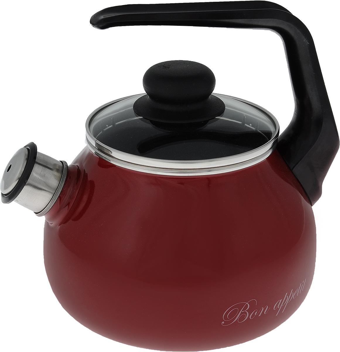 Чайник эмалированный Vitross Bon Appetit, со свистком, цвет: вишневый, 2 л1RA12Чайник Vitross Bon Appetit изготовлен из высококачественной нержавеющей стали с эмалированным покрытием. Нержавеющая сталь обладает высокой устойчивостью к коррозии, не вступает в реакцию с холодными и горячими продуктами и полностью сохраняет их вкусовые качества. Особая конструкция дна способствует высокой теплопроводности и равномерному распределению тепла. Чайник оснащен удобной ручкой. Носик чайника имеет снимающийся свисток, звуковой сигнал которого подскажет, когда закипит вода. Подходит для всех типов плит, включая индукционные. Можно мыть в посудомоечной машине.Диаметр чайника (по верхнему краю): 12,5 см.Высота чайника (без учета ручки и крышки): 12,5 см.Высота чайника (с учетом ручки): 21 см.