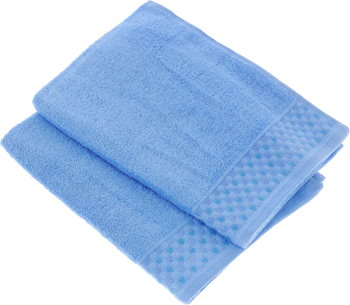 Набор полотенец Tete-a-Tete Сердечки, цвет: голубой, 50 х 90 см, 2 шт531-105Набор Tete-a-Tete Сердечки состоит из двух махровых полотенец, выполненных из натурального 100% хлопка. Бордюр полотенец декорирован сердечками и горошком. Изделия мягкие, отлично впитывают влагу, быстро сохнут, сохраняют яркость цвета и не теряют форму даже после многократных стирок. Полотенца Tete-a-Tete Сердечки очень практичны и неприхотливы в уходе. Они легко впишутся в любой интерьер благодаря своей нежной цветовой гамме.