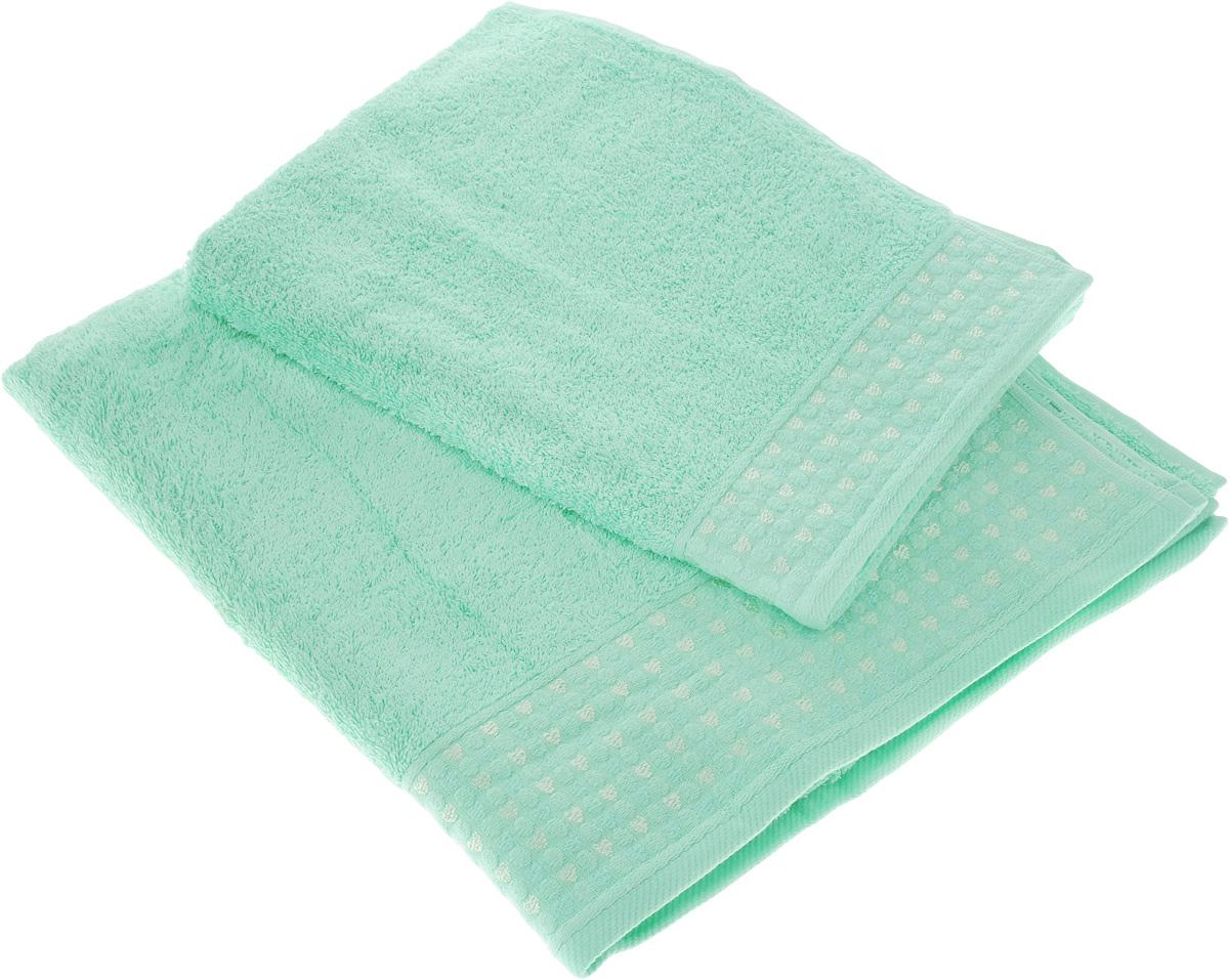 Набор полотенец Tete-a-Tete Сердечки, цвет: мятный, 2 шт531-105Набор Tete-a-Tete Сердечки состоит из двух махровых полотенец, выполненных из натурального 100% хлопка. Бордюр полотенец декорирован сердечками и горошком. Изделия мягкие, отлично впитывают влагу, быстро сохнут, сохраняют яркость цвета и не теряют форму даже после многократных стирок. Полотенца Tete-a-Tete Сердечки очень практичны и неприхотливы в уходе. Они легко впишутся в любой интерьер благодаря своей нежной цветовой гамме.