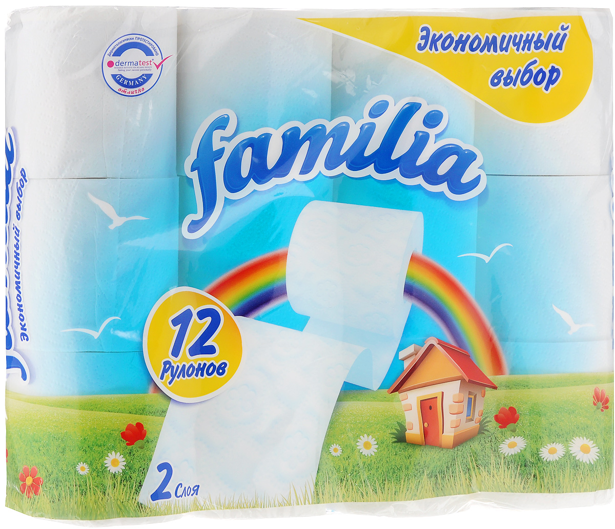 Бумага туалетная Familia Радуга, двухслойная, 12 рулоновKOC-H19-LEDДвухслойная туалетная бумага Familia Радуга изготовлена из вторичного сырья (переработанной бумаги) и целлюлозы. Мягкая, нежная, но в тоже время прочная, бумага не расслаивается и отрывается строго по линии перфорации.Количество рулонов: 12 шт. Длина одного рулона: 16,9 м.