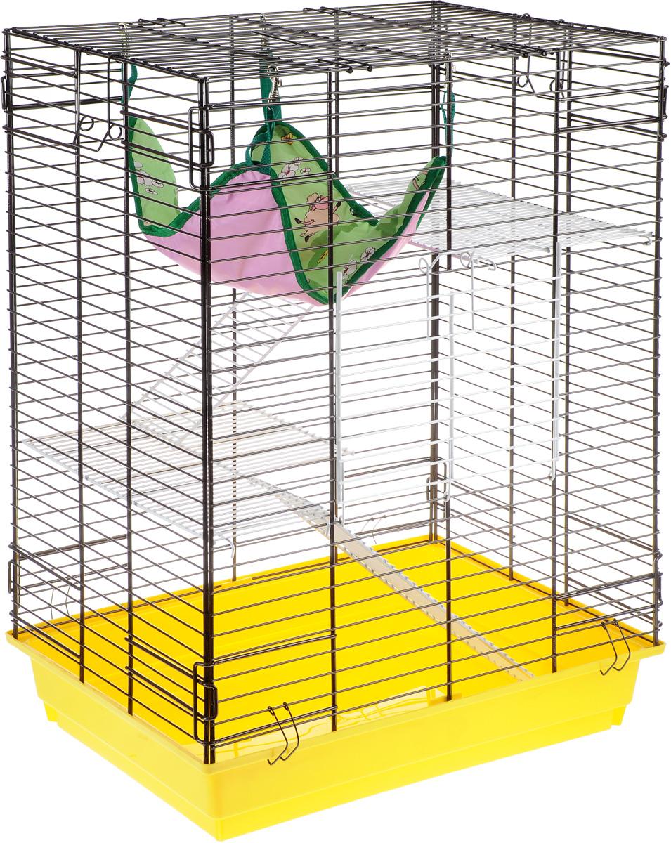 Клетка для шиншилл и хорьков ЗооМарк, цвет: желтый поддон, коричневая решетка, 59 х 41 х 79 см640КОКлетка ЗооМарк, выполненная из полипропилена и металла, подходит для шиншилл и хорьков. Большая клетка оборудована длинными лестницами и гамаком. Изделие имеет яркий поддон, удобно в использовании и легко чистится. Сверху имеется ручка для переноски. Такая клетка станет уединенным личным пространством и уютным домиком для грызуна.