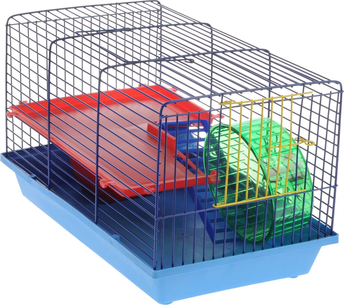 Клетка для грызунов ЗооМарк, 2-этажная, цвет: синий поддон, синяя решетка, красный этаж, 36 х 23 х 24 см0120710Клетка ЗооМарк, выполненная из пластика и металла, предназначена для мелких грызунов. Изделие двухэтажное, оборудовано колесом для подвижных игр и пластиковым домиком. Клетка имеет яркий поддон, удобна в использовании и легко чистится. Сверху имеется ручка для переноски. Такая клетка станет уединенным личным пространством и уютным домиком для маленького грызуна.