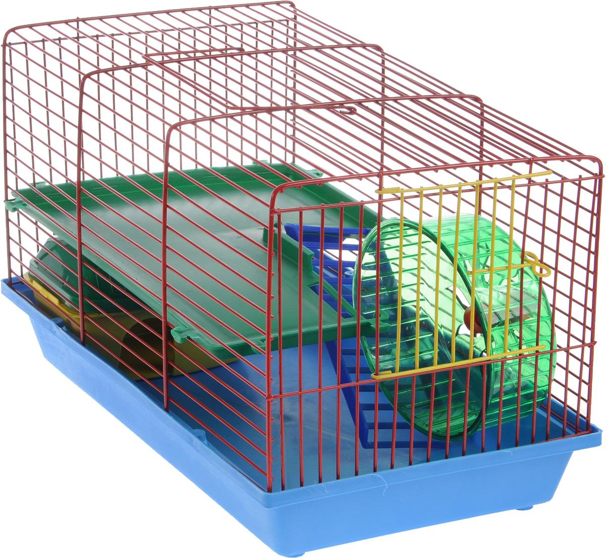 Клетка для грызунов ЗооМарк, 2-этажная, цвет: синий поддон, красная решетка, зеленый этаж, 36 х 23 х 24 см0120710Клетка ЗооМарк, выполненная из пластика и металла, предназначена для мелких грызунов. Изделие двухэтажное, оборудовано колесом для подвижных игр и пластиковым домиком. Клетка имеет яркий поддон, удобна в использовании и легко чистится. Сверху имеется ручка для переноски. Такая клетка станет уединенным личным пространством и уютным домиком для маленького грызуна.