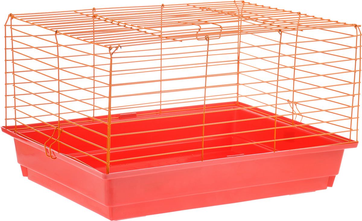 Клетка для кролика ЗооМарк, цвет: красный поддон, оранжевая решетка, 60 х 40 х 35 см230жЖЗКлассическая клетка ЗооМарк со сплошным дном станет уединенным личным пространством и уютным домиком для кролика. Изделие выполнено из металла и пластика. Клетка надежно закрывается на защелки. Легко чистится. Для более удобной транспортировки клетку можно сложить.