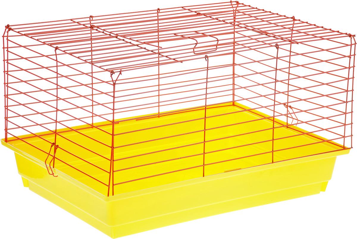 Клетка для кролика  ЗооМарк , цвет: желтый поддон, красная решетка, 60 х 40 х 35 см
