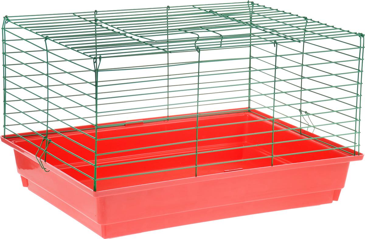 Клетка для кролика ЗооМарк, цвет: красный поддон, зеленая решетка, 60 х 40 х 35 см511КСКлассическая клетка ЗооМарк со сплошным дном станет уединенным личным пространством и уютным домиком для кролика. Изделие выполнено из металла и пластика. Клетка надежно закрывается на защелки. Легко чистится. Для более удобной транспортировки клетку можно сложить.