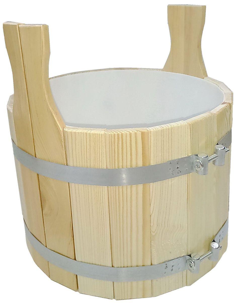 Шайка для бани Доктор Баня, с пластиковой вкладкой, 10 л787502Шайка круглой формы, выполненная из кедра, прекрасно подойдет для замачивания веника или других банных процедур. Внутри шайки располагается пластиковая вкладка. Шайка является одной из тех приятных мелочей, без которых не обойтись при принятии банных процедур.Аксессуары для бани и сауны - это те приятные мелочи, которые приносят радость и создают комфорт. Интересная штука - баня. Место, где одинаково хорошо и в компании, и в одиночестве. Перекресток, казалось бы, разных направлений - общение и здоровье. Приятное и полезное. И всегда в позитиве. Характеристики:Материал: дерево (кедр), пластик. Объем шайки: 10 л. Диаметр шайки: 30 см. Высота шайки (без учета ручек): 21,5 см. Длина ручек: 10 см. Диаметр пластикового вкладыша: 27 см. Высота пластикового вкладыша: 18,5 см. Размер упаковки: 30 см х 30 см х 31,5 см.Артикул: 905152.
