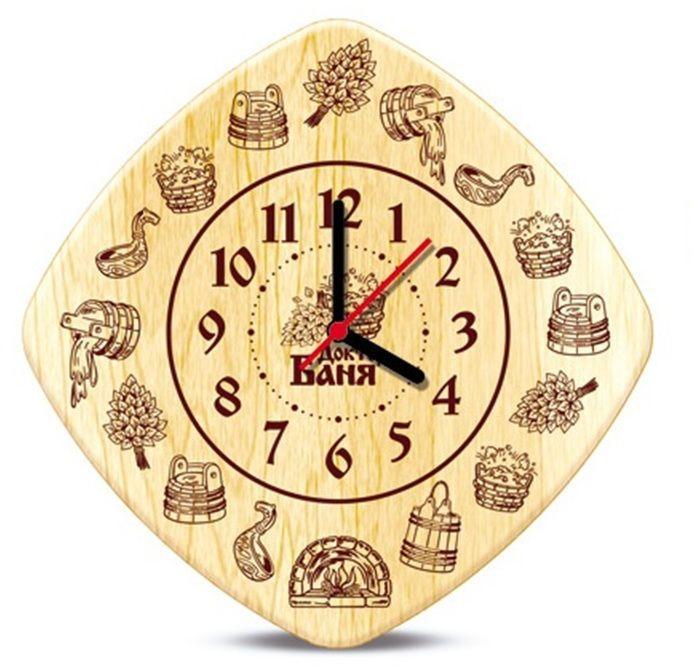 Часы настенные Доктор баня для бани и сауны. 905242300074_ежевикаНастенные кварцевые часы Доктор баня, выполненные из дерева, своим дизайном подчеркнут оригинальность интерьера вашей бани или сауны. Панель часов декорирована изображением различных банных принадлежностей. Часы имеют три стрелки - часовую, минутную и секундную.Такие часы послужат отличным подарком для ценителя стильных и оригинальных вещей. Характеристики:Материал: дерево, металл. Размер часов: 20 см х 20 см х 2 см. Размер упаковки: 23 см х 26 см х 6 см. Артикул: 905242. Рекомендуется докупить батарейку типа АА (в комплект не входит).