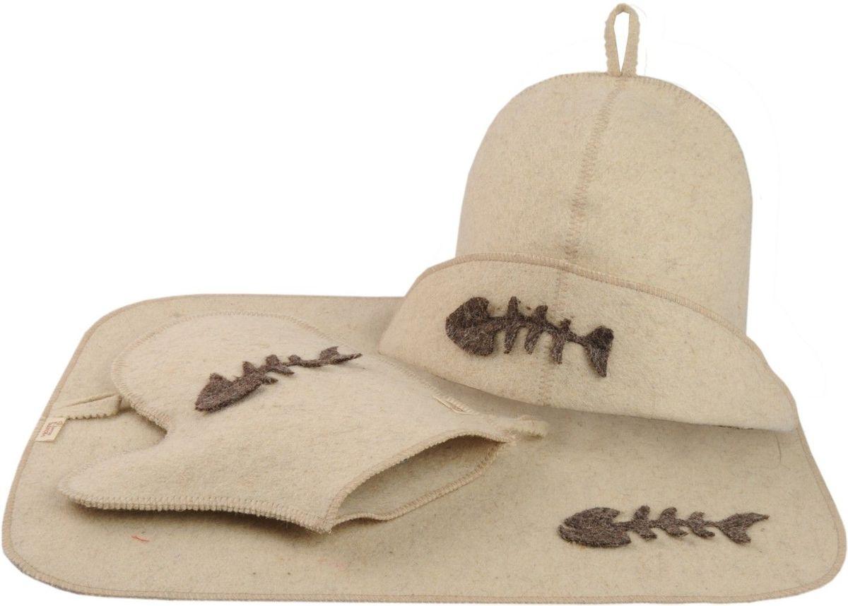 Набор для бани и сауны Доктор баня Рыбак, 3 предмета8438Набор для бани и сауны Доктор баня Рыбак, выполненный из белого войлока, привлечет внимание любителей модных тенденций в банной одежде. В набор входят все необходимые аксессуары, для того чтобы банный поход принес вам только радость. Набор состоит из коврика, шапки и рукавицы. Шапка - незаменимая вещь в парной. Она необходима для того, чтобы не перегреть голову, также она должна хорошо впитывать влагу. Коврик убережет вас от горячей полки, защитит вас в общественной бане, а варежка обезопасит ваши руки от горячего пара или ручки ковша. Рукавицей можно также прекрасно помассировать тело.Все предметы набора оформлены аппликацией в виде рыбного скелета. Характеристики:Материал: войлок. Диаметр основания шапки: 35 см. Высота шапки: 21 см. Размер рукавицы: 22,5 см х 25 см. Размер коврика: 33 см х 50 см.