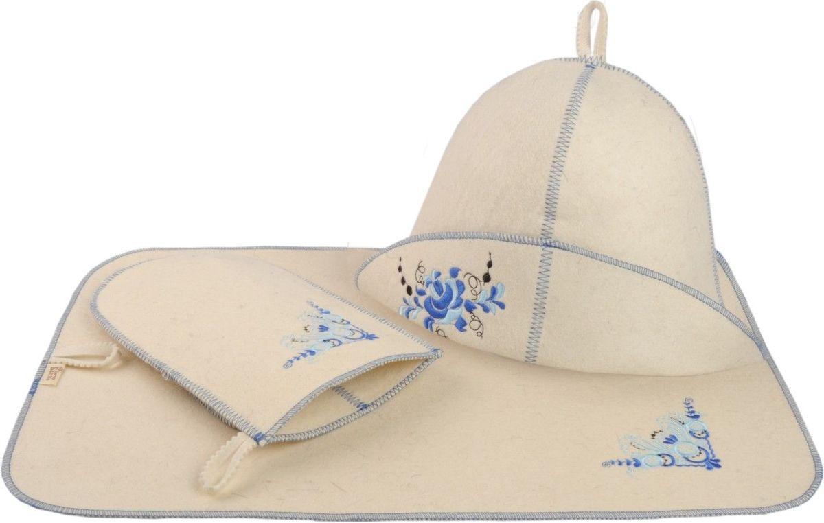 Набор для бани и сауны Гжель, 3 предмета787502В комплект для бани и сауны Гжель входит все самое необходимое, чтобы сделать пребывание в парной комфортным - шапка, рукавица и коврик. Выполненные из натурального войлока, предметы комплекта обладают великолепными гигроскопичными свойствами,защищают от высоких температурв парной. Оригинальный дизайн и эргономичность изделий добавят эстетики банным процедурам. Характеристики: Материал: 100% шерсть. Диаметр шапки по нижнему краю: 32 см. Высота шапки (наибольшая): 21 см. Длина рукавицы: 25,5 см. Размер коврика: 50 см х 33 см. Размер упаковки: 33 см х 25 см х 7,5 см. Производитель: Россия.