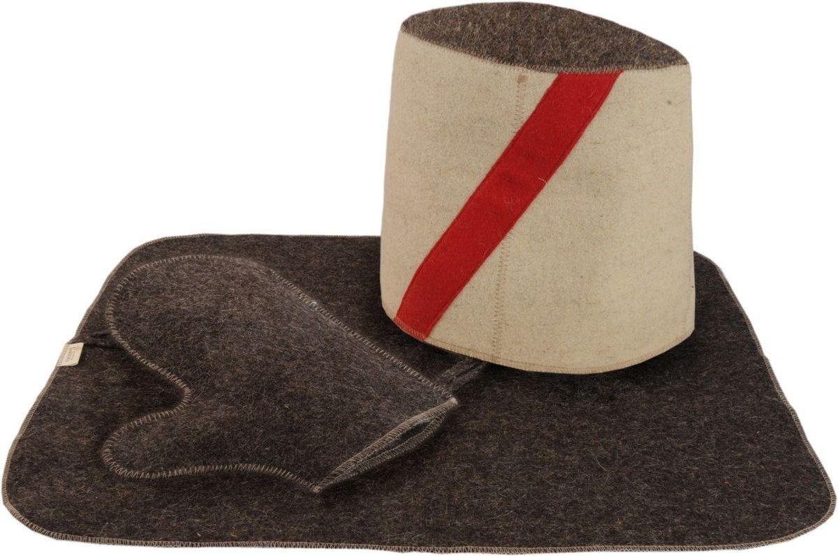 Набор для бани и сауны Доктор баня Атаман, 3 предмета391602В комплект для бани и сауны Доктор баня Атаман входит все самое необходимое, чтобы сделать пребывание в парной комфортным - шапка, рукавица и коврик. Выполненные из войлока (80% шерсть, 20% полиэфирные волокна) предметы комплекта обладают великолепными гигроскопичными свойствами и защищают от высоких температур в парной. Оригинальный дизайн изделий добавит эстетики банным процедурам. Размер шапки: 24 х 31 см. Размер коврика: 48 х 33 см. Размер рукавицы: 22,5 х 26,5 см.