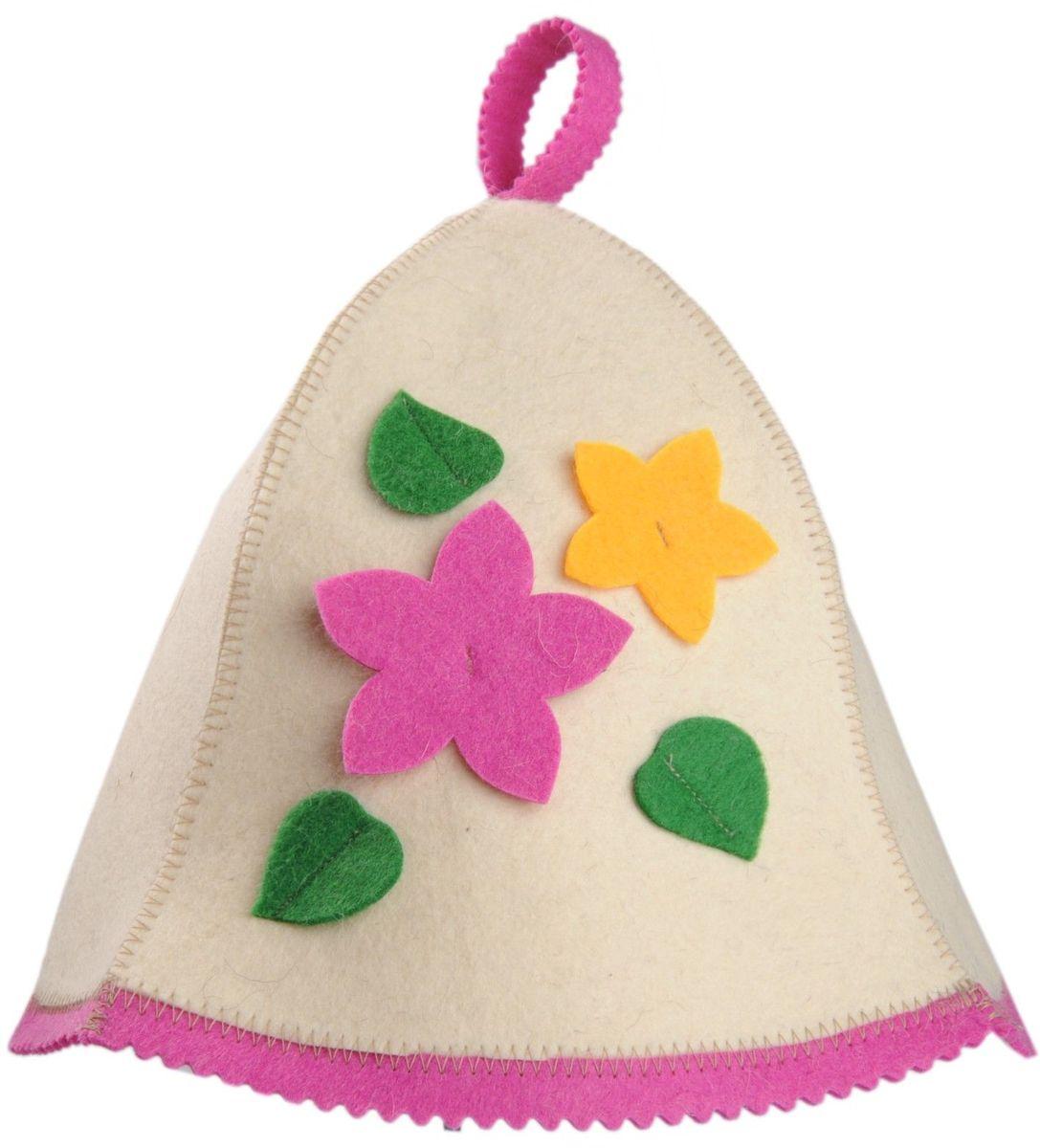 Шапка для бани и сауны Доктор баня Букет, цвет: розовыйC0042415Шапка для бани и сауны Доктор баня Букет выполнена из войлока (100% шерсть) и декорирована аппликацией в виде цветов и листочков. Шапка для бани и сауны - это оригинальный и незаменимый аксессуар для любителей попариться в русской бане и для тех, кто предпочитает сухой жар финской бани. Необычный дизайн изделия поможет сделать ваш отдых более приятным и разнообразным.При правильном уходе шапка прослужит долгое время - достаточно просушивать ее, подвешивая за петельку. Диаметр по нижнему краю: 31 см. Длина шапки (наибольшая): 26 см.