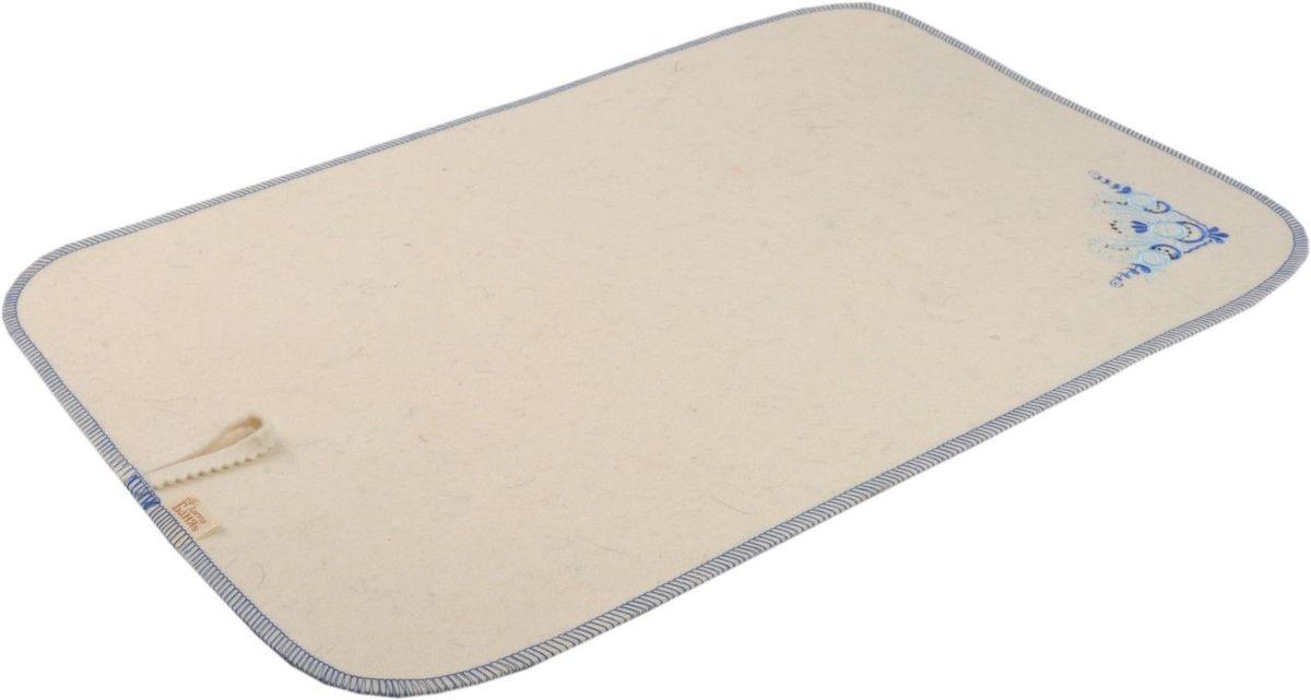 Коврик для бани и сауны Гжель, 50 см х 33 смC0042416Коврик - необходимый банный аксессуар. Является средством личной гигиены, защищает открытые части тела парильщика от перегретых поверхностей полок, лавок в парной бани или сауны. Коврик оформлен вышивкой в стиле гжель.Благодаря специальной петельке, коврик можно подвесить на стенку. Характеристики: Материал: шерсть. Размер коврика: 50 см х 33 см. Производитель: Россия.
