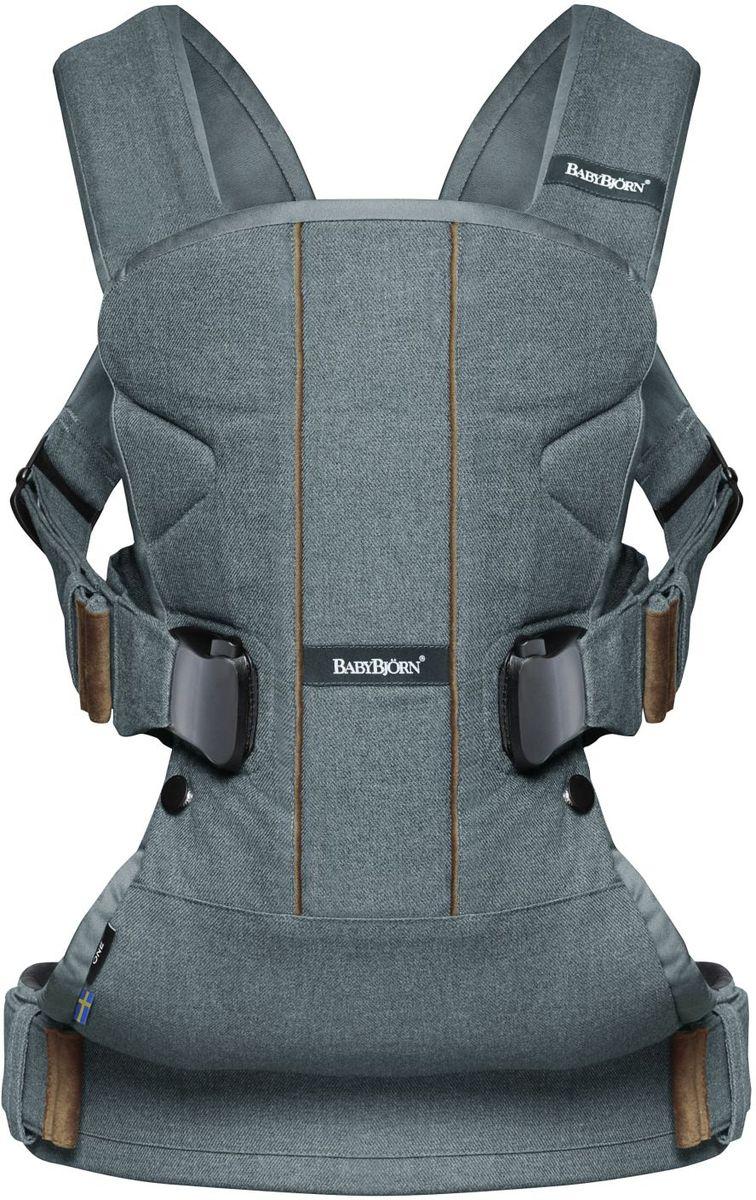 BabyBjorn Рюкзак-кенгуру One Soft Cotton Mix цвет серо-бирюзовый  рюкзак кенгуру babybjorn miracle soft сotton цвет черный серый