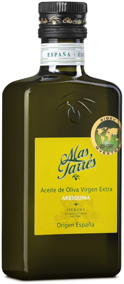 Olis Sole Оливковое масло Extra Virgin Mas Tarres, 250 мл0120710Олис Соле Мас Тарес- нерафинированное оливковое масло первого холодного отжима (Extra Virgin Olive Oil) премиум класса кислотностью 0,2%, которая является лечебной по испанским законам. ЭКОЛОГИЧЕСКИЙ ФЕРМЕРСКИЙ ПРОДУКТ из оливок сорта Арбекина раннего сбора урожая. Диетический продукт! Сорт Арбекина берёт своё название от местечка Арбека. Сейчас его главная область культивирования – Каталония. Выращиваются они в экологически безопасной зоне Siurana. Оливки этого сорта маленькие и круглые, с красноватым оттенком и ярко выраженным плодовым привкусом. В ходе культивации этот сорт является самым ближайшим к дикой оливе. Арбекина дает низкую степень урожая - 20 и 22 %. Используется главным образом из за его качества, несмотря на относительную низкую стабильность в урожае. Органолептические особенности настолько превосходны, что очень ценятся во всем мире. Производитель традиционно осуществляет сбор урожая, когда плоды только подступились к своей средней степени зрелости. Плод уже сочный, но еще не достаточно зрелый. Это дает полученному маслу незабываемый аромат и неповторимый вкус. Масло, полученное из этих оливок, считается самым полезным и, соответственно, самым дорогим. Производится старейшей испанской компанией OLIS SOLE.S.L. (марки Olis Sole и MasTarres) в Каталонии в Mont-roing del Camp. Компанию основала в 1944 году великая бабушка семьи Sole - мадам Мария Яват. Благодаря ей были разработаны фирменные стандарты качества и секретные технологии. С тех пор семья традиционно производит оливковые масла Экстра Вирджен самой высшей категории. Они ценятся во всем мире, имеют блестящую репутацию среди экспертов и удовлетворяют самым высоким требованиям гурманов всего мира.