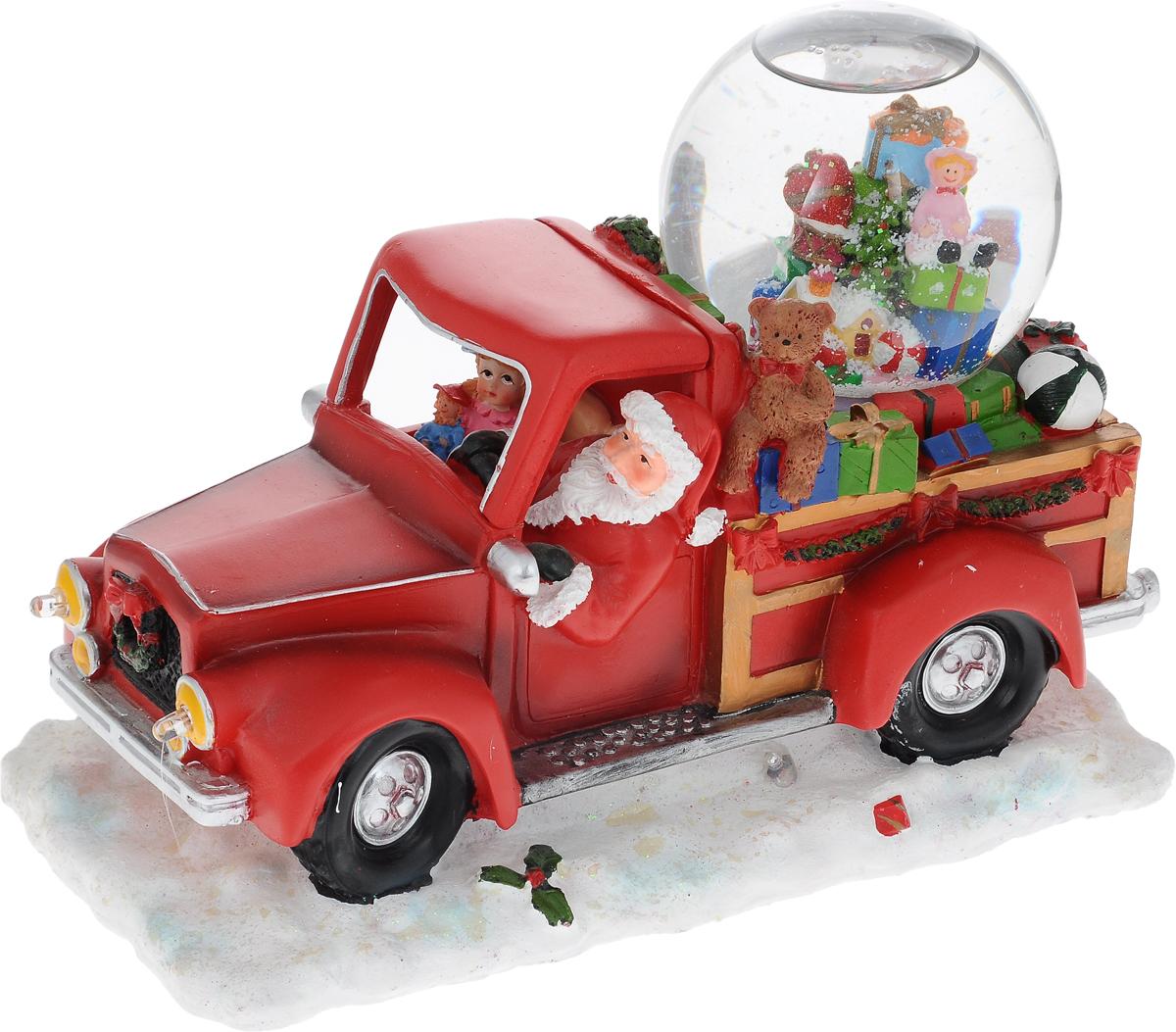 Украшение новогоднее декоративное Win Max Дед Мороз, с водяным шаром, музыкальное20112044Украшение новогоднее декоративное Win Max Дед Мороз прекрасно подойдет для праздничного декора вашего дома. Изделие выполнено из полистоуна в виде красного грузовика с подарками, за рулем которого Дед Мороз. Украшение дополнено водяным шаром с безопасной нетоксичной жидкостью внутри. Если включить тумблер с задней стороны машинки, то зазвучит мелодия Jingle Bells, загорятся разноцветные лампочки, и снежинки в водяном шаре придут в движение. Новогодние украшения несут в себе волшебство и красоту праздника. Они помогут вам украсить дом к предстоящим праздникам и оживить интерьер. Создайте в доме атмосферу тепла, веселья и радости, украшая его всей семьей. Кроме того, такая фигурка станет приятным подарком, который надолго сохранит память этого волшебного времени года. Украшение работает от 3 батареек типа АА (в комплект не входят). Диаметр водяного шара: 9 см.