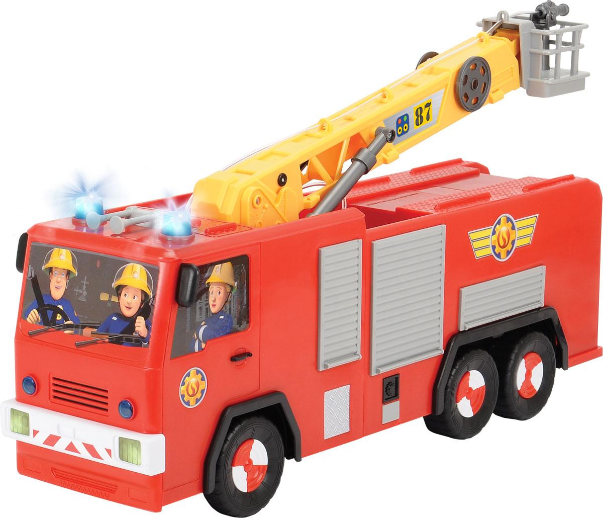 """Пожарная машина на дистанционном управлении Dickie Toys """"Юпитер"""" - аналог машинки из популярного мультфильма """"Пожарный Сэм"""" обязательно порадует вашего ребенка и подарит ему множество веселых игр и положительных эмоций. Выполненная из высококачественного безопасного пластика игрушка отличается большим размером и оснащена действующим водометом. Ребенок сможет залить в специально предназначенный резервуар настоящую воду и тушить воображаемые пожары. Машина может двигаться вперед, назад, вправо, влево, останавливаться. Кран машины поднимается и поворачивается вокруг своей оси. Машинка управляется при помощи пульта дистанционного управления (в комплекте). Пульт присоединен с помощью провода; игра с краном осуществляется только на расстоянии, равном длине провода. Порадуйте своего малыша таким замечательным подарком! Для работы игрушки необходимы 6 батареек АА напряжением 1,5V (в комплект входят 2 демонстрационные)."""