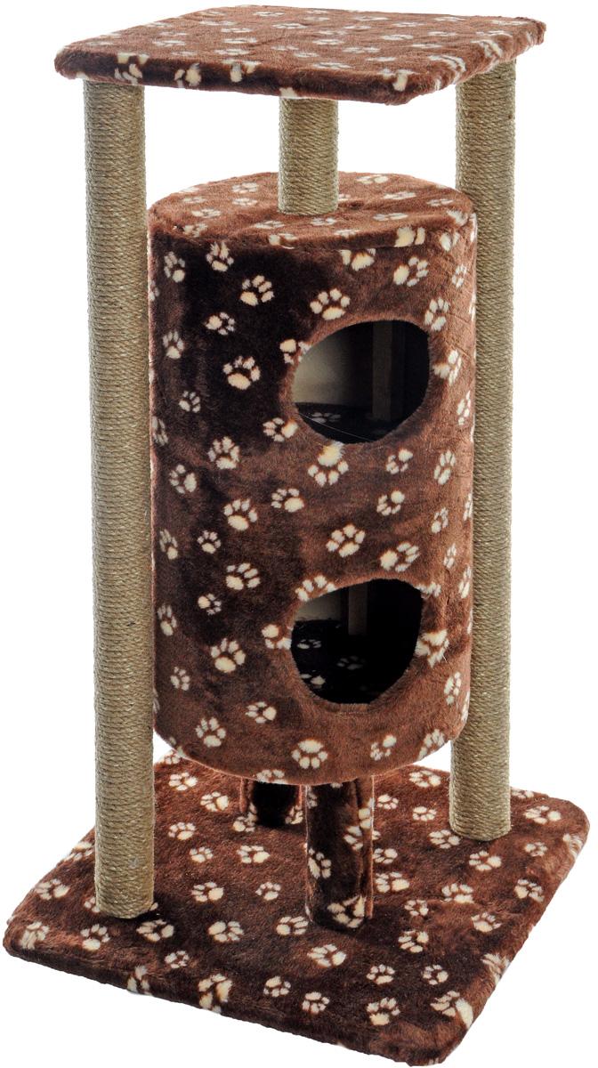 Домик-когтеточка Меридиан Ракета, 5-ярусный, цвет: темно-коричневый, бежевый, 51 х 51 х 104 см0120710Домик-когтеточка Меридиан Ракета выполнен из высококачественных материалов.Изделие предназначено для кошек. Уютный, домик имеет 5 ярусов. Изделие обтянуто искусственным мехом, а столбики изготовлены из джута. Ваш домашний питомец будет с удовольствием точить когти о специальные столбики. Второй и третий ярус выполнен в виде нор, где можно укрыться от посторонних глаз. Места хватит для нескольких питомцев. Домик-когтеточка Меридиан Ракета принесет пользу не только вашему питомцу, но и вам, так как он сохранит мебель от когтей и шерсти.Общий размер: 51 х 51 х 104 см. Размер нижней полки: 51 х 51 см.Размер верхней полки: 41 х 41 см.Высота двух домиков: 61 см.Диаметр домиков: 36 см.