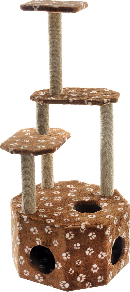 Домик-когтеточка Меридиан Высотка, 4-ярусный, цвет: темно-коричневый, бежевый, 51 х 51 х 123 см0120710Домик-когтеточка Меридиан Высотка выполнен из высококачественного ДВП и ДСП и обтянут искусственным мехом. Изделие предназначено для кошек. Комплекс имеет 4 яруса. Ваш домашний питомец будет с удовольствием точить когти о специальные столбики, изготовленные из джута. А отдохнуть он сможет либо на полках, либо в расположенном внизу домике. Домик-когтеточка Меридиан Высотка принесет пользу не только вашему питомцу, но и вам, так как он сохранит мебель от когтей и шерсти.Общий размер: 51 х 51 х 123 см.Размер домика: 51 х 51 х 32 см.