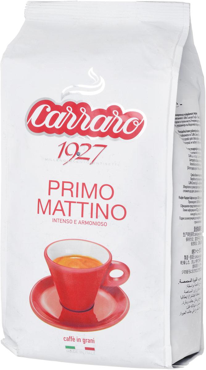 Carraro Primo Mattino кофе в зернах, 1 кг0120710Carraro Primo Mattino - это настоящий традиционный крепкий итальянский кофе, насыщенная консистенция и аромат которого является результатом создания смеси из лучших зерен Арабики и Робусты из разных стран.