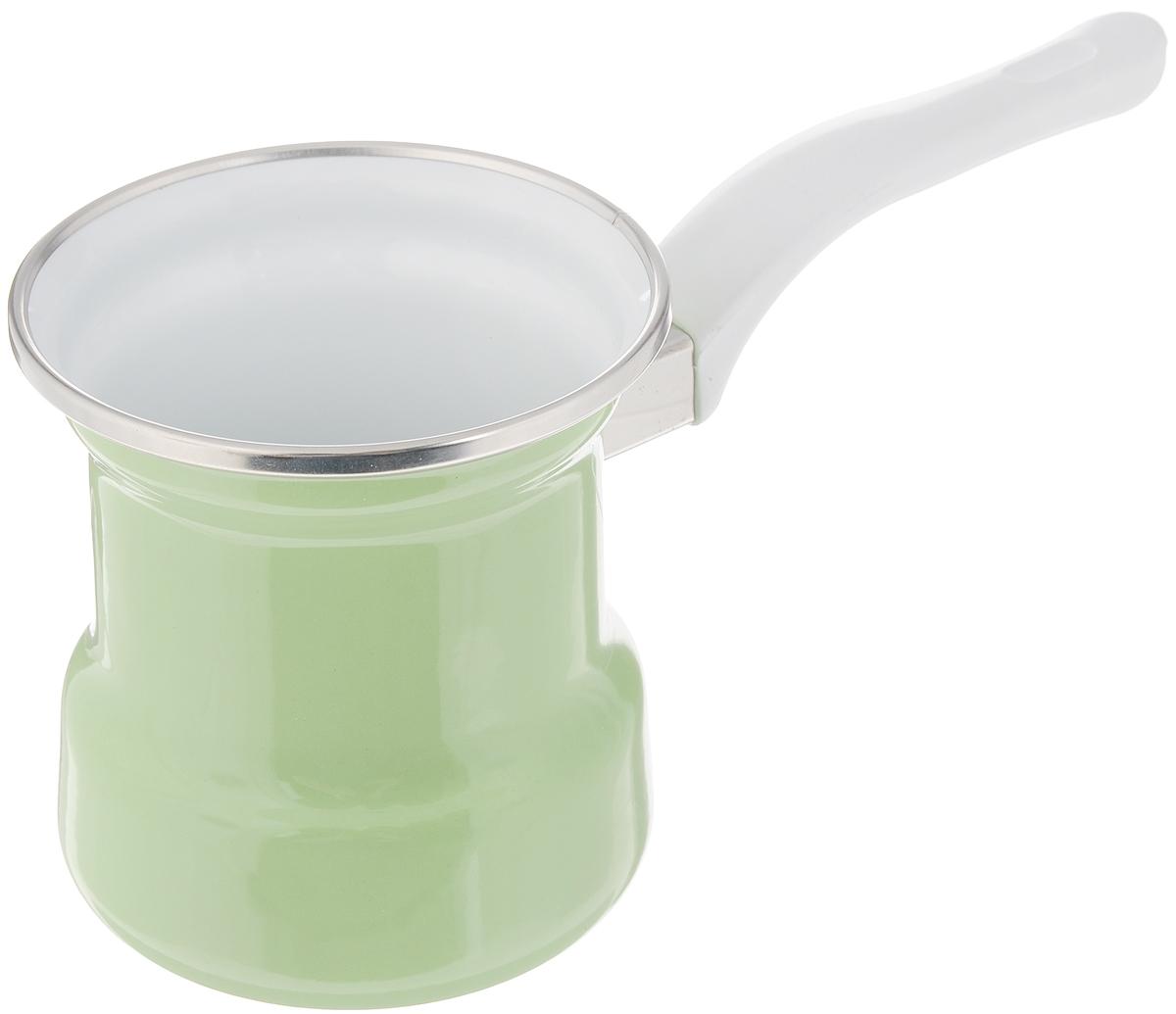 Турка эмалированная Elros Green Apple, цвет: зеленый, 400 млVT-1520(SR)Турка Elros Green Apple прекрасно подходит для приготовления настоящего кофе на плите. Изготовлена из стали с эмалированным покрытием. Изделие оснащено эргономичной ручкой. Такая турка органично впишется в интерьер вашей кухни и станет замечательным подарком к любому случаю. Подходит для всех видов плит. Можно мыть в посудомоечной машине. Диаметр (по верхнему краю): 9 см. Высота стенки: 10 см. Длина ручки: 12,5 см.