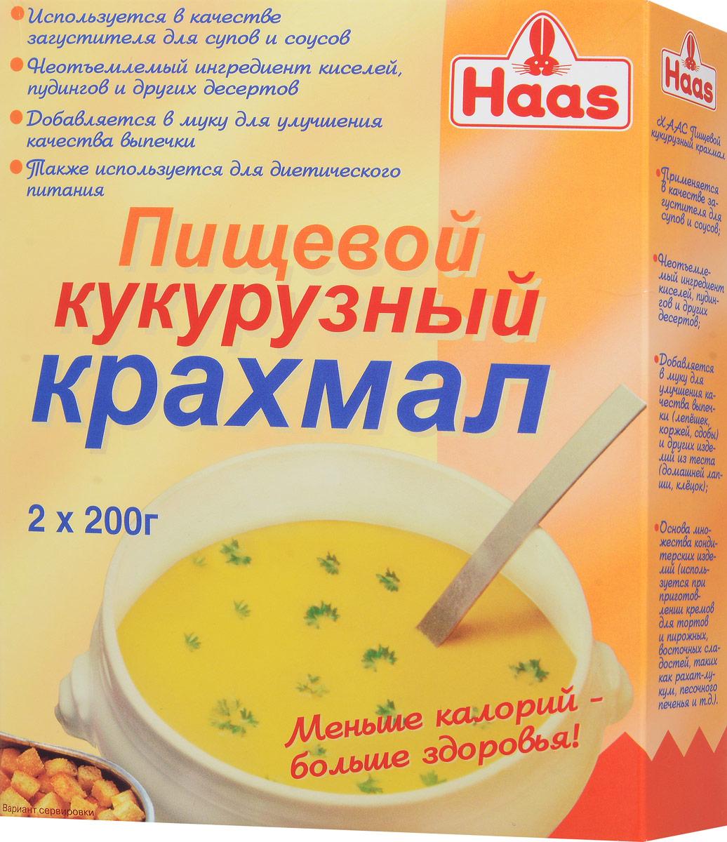 Haas кукурузный крахмал, 400 г0120710Кукурузный крахмал Haas используется в качестве загустителя для супов и соусов. Добавляется в муку для улучшения качества выпечки. С пищевым крахмалом ваша выпечка будет необыкновенно легкой и рассыпчатой, а такие мучные изделия, как лапша, клецки, галушки не потеряют форму при варке, сохранят приятный аппетитный вид. Также кукурузный крахмал является неотъемлемым ингредиентом киселей, пудингов и других десертов. Можно использовать для диетического питания.