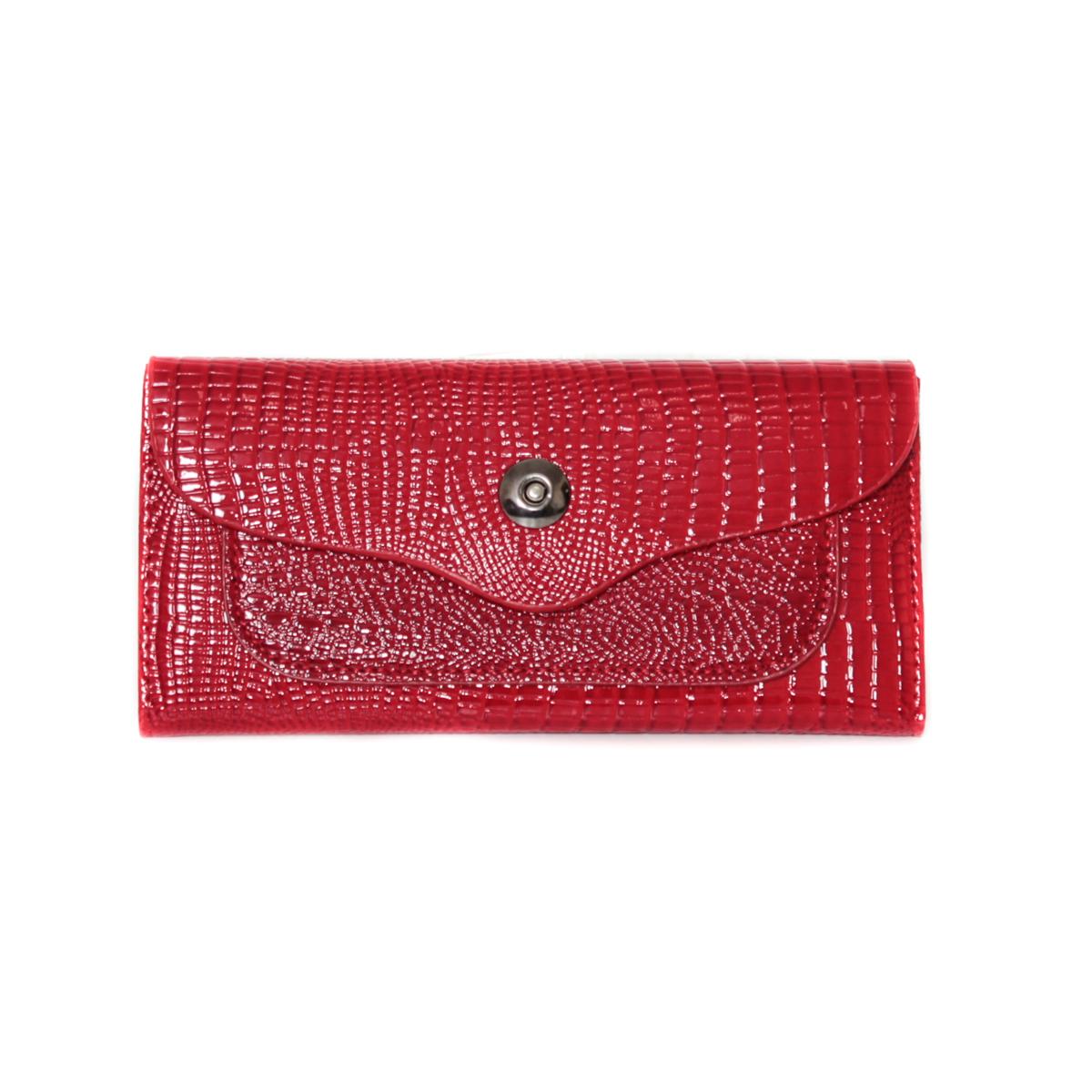 Кошелек женский Leighton, цвет: красный. 00053092INT-06501Кошелек женский Leighton закрывается на кнопку. Внутри расположены два отделения и один карман на молнии. Имеются отделения для визиток.