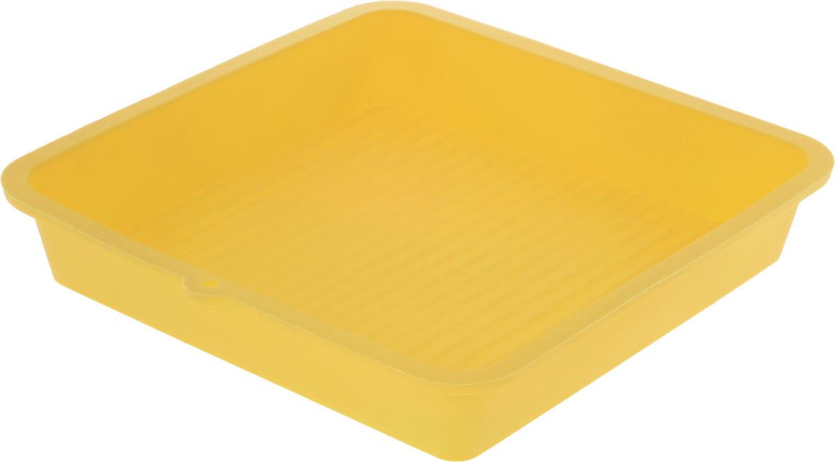 Форма для выпечки LaSella, силиконовая, цвет: желтый, 23 х 23 х 4,5 см54 009312Форма для выпечки LaSella выполнена из высококачественного 100% пищевого силикона. Идеально подходит для приготовления выпечки, десертов и холодных закусок. Форма выдерживает температуру от -40 до +240°C, обладает естественными антипригарными свойствами. Не выделяет вредных веществ при высоких температурах. Подходит для использования в духовке и микроволновой печи.