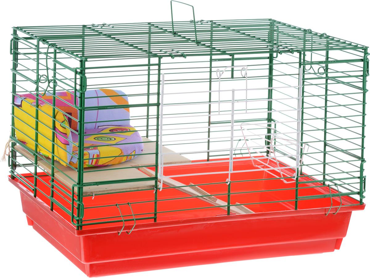 Клетка для кроликов  ЗооМарк , 2-этажная, цвет: красный поддон, зеленая решетка, 59 х 39 х 41 см