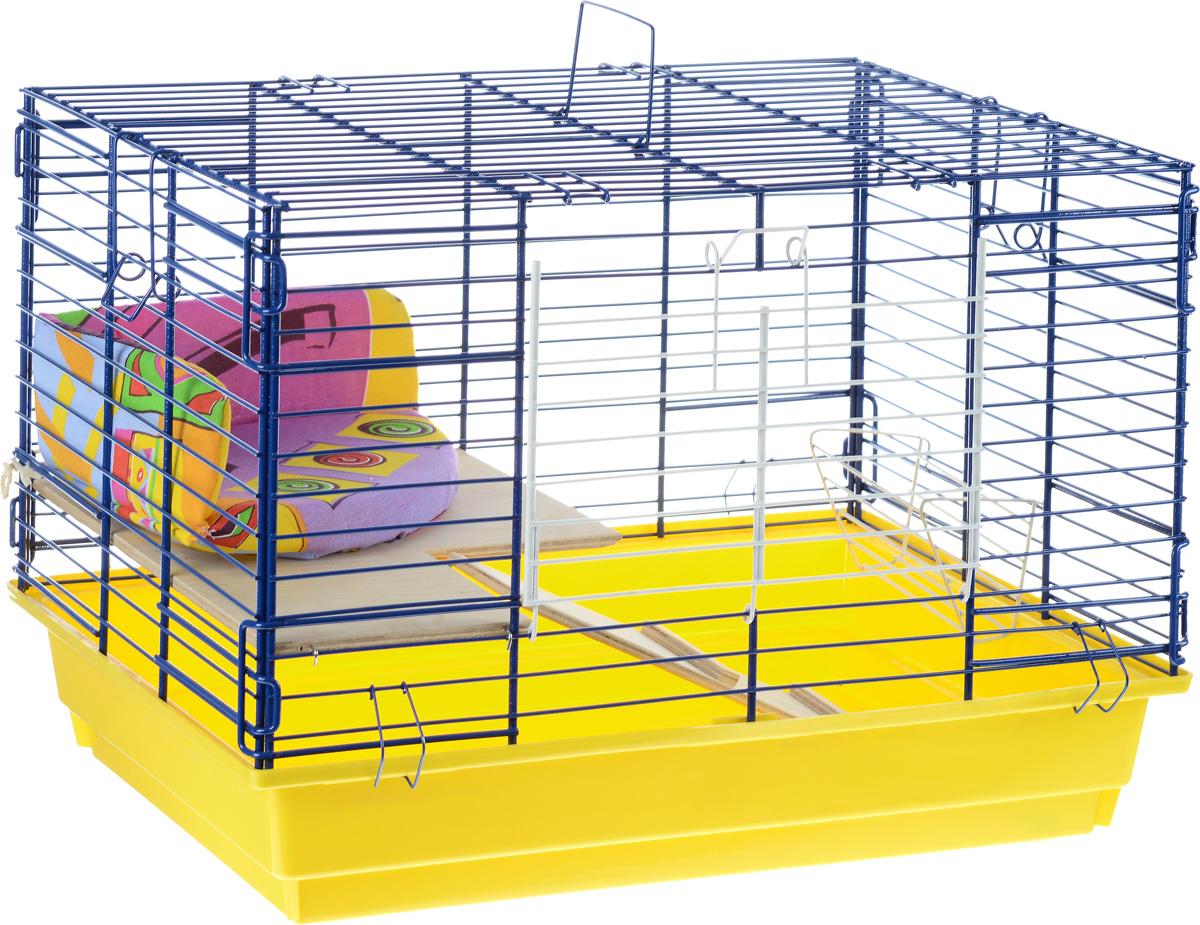 Клетка для кролика  ЗооМарк , 2-этажная, цвет: желтый поддон, синяя решетка, 59 х 40 х 41 см