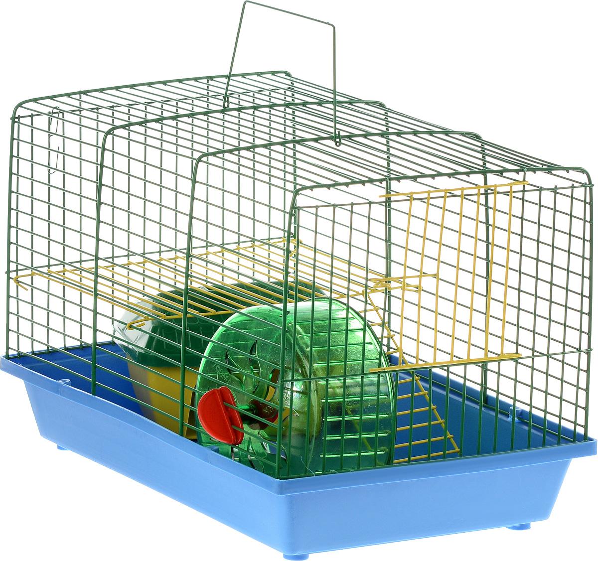 Клетка для грызунов ЗооМарк, 2-этажная, цвет: голубой поддон, зеленая решетка, желтый этаж, 36 х 22 х 24 см0120710Клетка ЗооМарк, выполненная из полипропилена и металла, подходит для мелких грызунов. Изделие двухэтажное, оборудовано колесом для подвижных игр и пластиковым домиком. Клетка имеет яркий поддон, удобна в использовании и легко чистится. Сверху имеется ручка для переноски, а сбоку удобная дверца. Такая клетка станет уединенным личным пространством и уютным домиком для маленького грызуна.