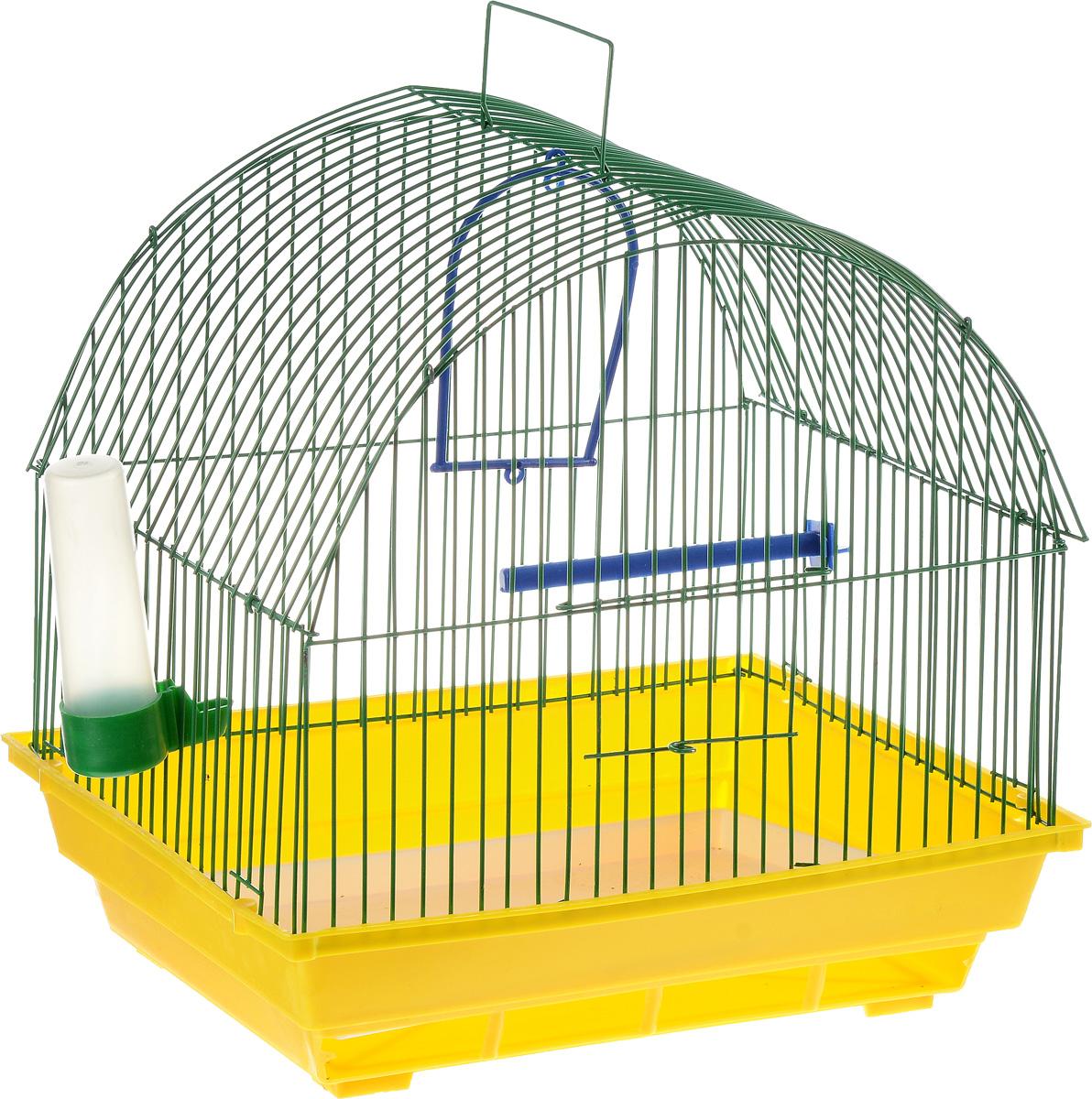Клетка для птиц ЗооМарк, цвет: желтый поддон, зеленая решетка, 35 х 28 х 34 см0120710Клетка ЗооМарк, выполненная из полипропилена и металла с эмалированным покрытием, предназначена для мелких птиц.Изделие состоит из большого поддона и решетки. Клетка снабжена металлической дверцей. В основании клетки находится малый поддон. Клетка удобна в использовании и легко чистится. Она оснащена жердочкой, кольцом для птицы, поилкой, кормушкой и подвижной ручкой для удобной переноски. Комплектация: - клетка с поддоном, - малый поддон; - поилка; - кормушка;- кольцо.