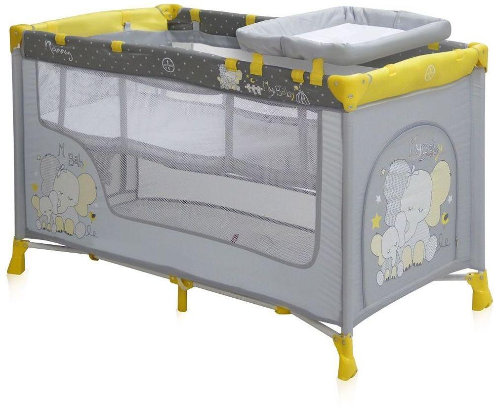 Lorelli Манеж-кроватка Nanny 2 цвет желтыйTHN132NДетский манеж-кроватка от болгарского бренда Bertoni Nanny 2 – это гарантированный комфорт вашего малыша! Продукция компании сертифицирована и отвечает самым высоким стандартам качества и безопасности эксплуатации, одобрена нормами ЕС.Манеж-кроватка уместен не только в доме, но и на улице.Достоинства детской кроватки-манежа Bertoni Nanny 2:Продукция изготовлена из высококачественных, экологичных материалов с антибактериальным покрытиемДно в Bertoni Nanny 2 имеет 2 уровня: одно для игр, второе для снаДно жесткое, что гарантирует правильную поддержку спинки ребенка во время снаBertoni Nanny 2 имеет центральную ножку, которая гарантирует не только дополнительную устойчивость, но и не дает прогибаться днуВ сложенном виде конструкция занимает мало места, легко переносится в сумки, которая идет в комплекте. Процесс складывания предельно простBertoni Nanny 2 снабжена пеленатором, который устанавливается на борта манежа и еще есть защитный капюшон с дугой и игрушкамиБоковины прозрачные, так что вы всегда будете знать, чем занят ваш малышДля деток, которые немножко подросли, можно открыть автовыход на торцевой панели