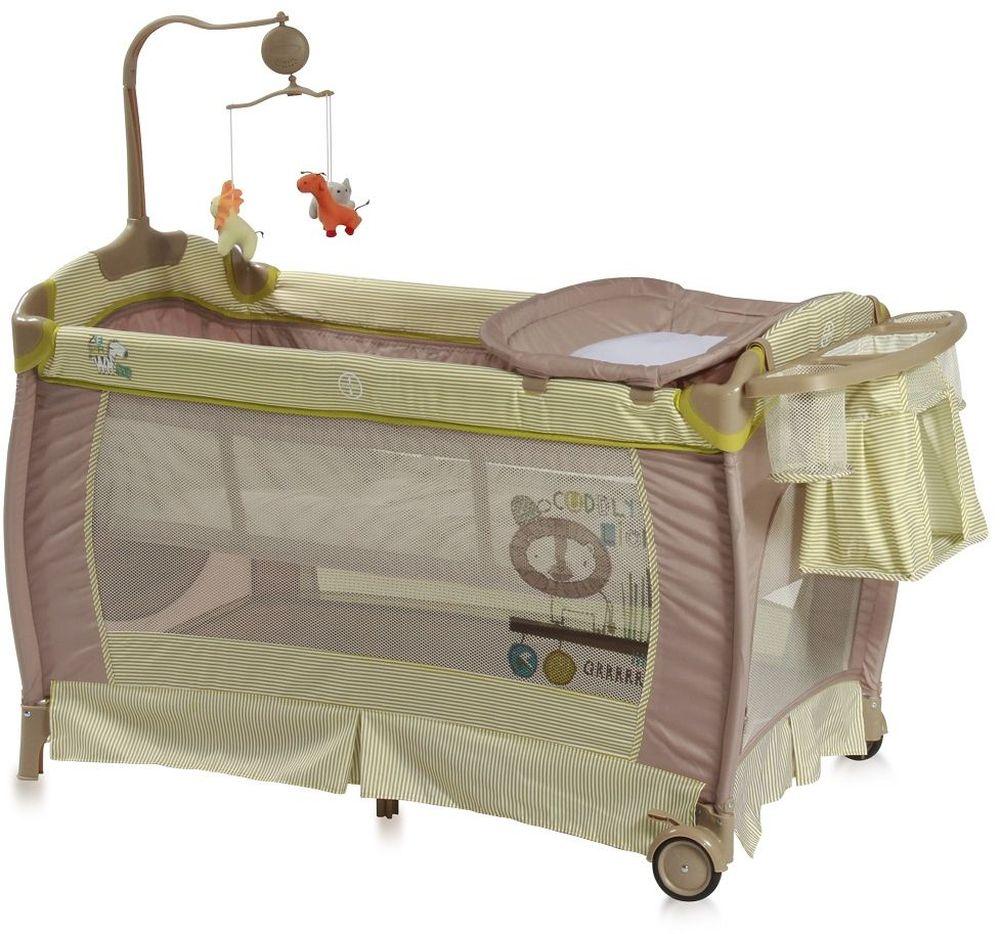 Lorelli Манеж-кроватка SleepNDream цвет зеленый3800151955825Практичная и компактная модель, которая поможет родителям на время ограничить перемещение малыша по дому и сделает его пребывание абсолютно безопасным. Плюсом модели является два уровня высоты ложа. Первый уровень используется для новорожденных. Когда ребенок подрастет, дно можно опустить на второй уровень и использовать манеж не опасаясь, что ребенок вывалится из него.Особенности:Удобный пеленальный столикСбоку отверстие на молнииКолесики для перемещения по полуКомпактное складываниеМузыкальная карусель с подвесными игрушкамиПодставка для аксессуаров и мелочей