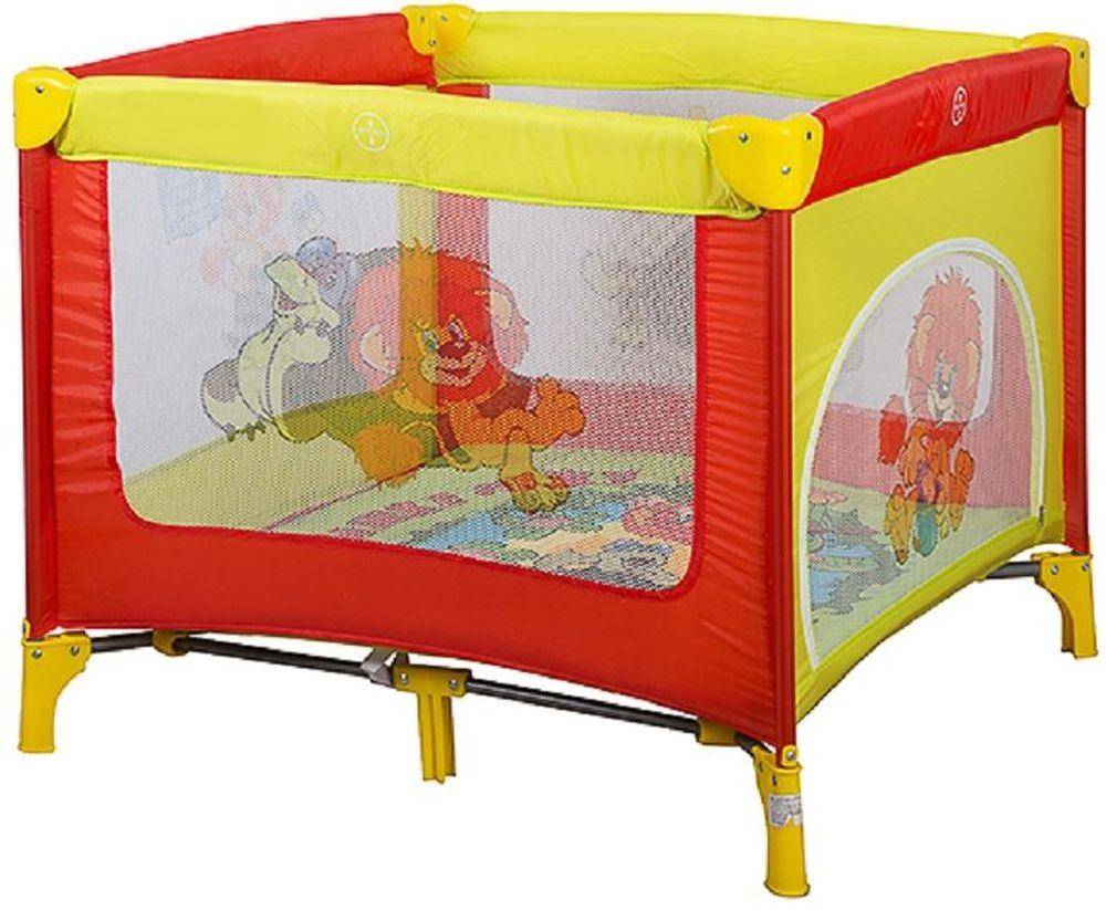 Bambini Манеж Союзмультфильм Caribu Львенок и Черепаха цвет желтый, красный4615258692561Манеж Bambini Caribu компактный и очень удобный, он ограничит пространство Вашего малыша в целях его безопасности. Незаменим в поездках и на даче, легко складывается в компактную сумочку, которая идет в комплекте. Не займет много места в машине. Сделан из легко моющегося материала.Основные характеристики:быстрый и безопасный механизм складывания-раскладывания манежабоковой лаз для ребенка центральная ножкажесткое дносумка для переноскизамок-фиксатор на днеяркая расцветкаизготовлен из прочных антибактериальных тканейдля детей до 3 лет
