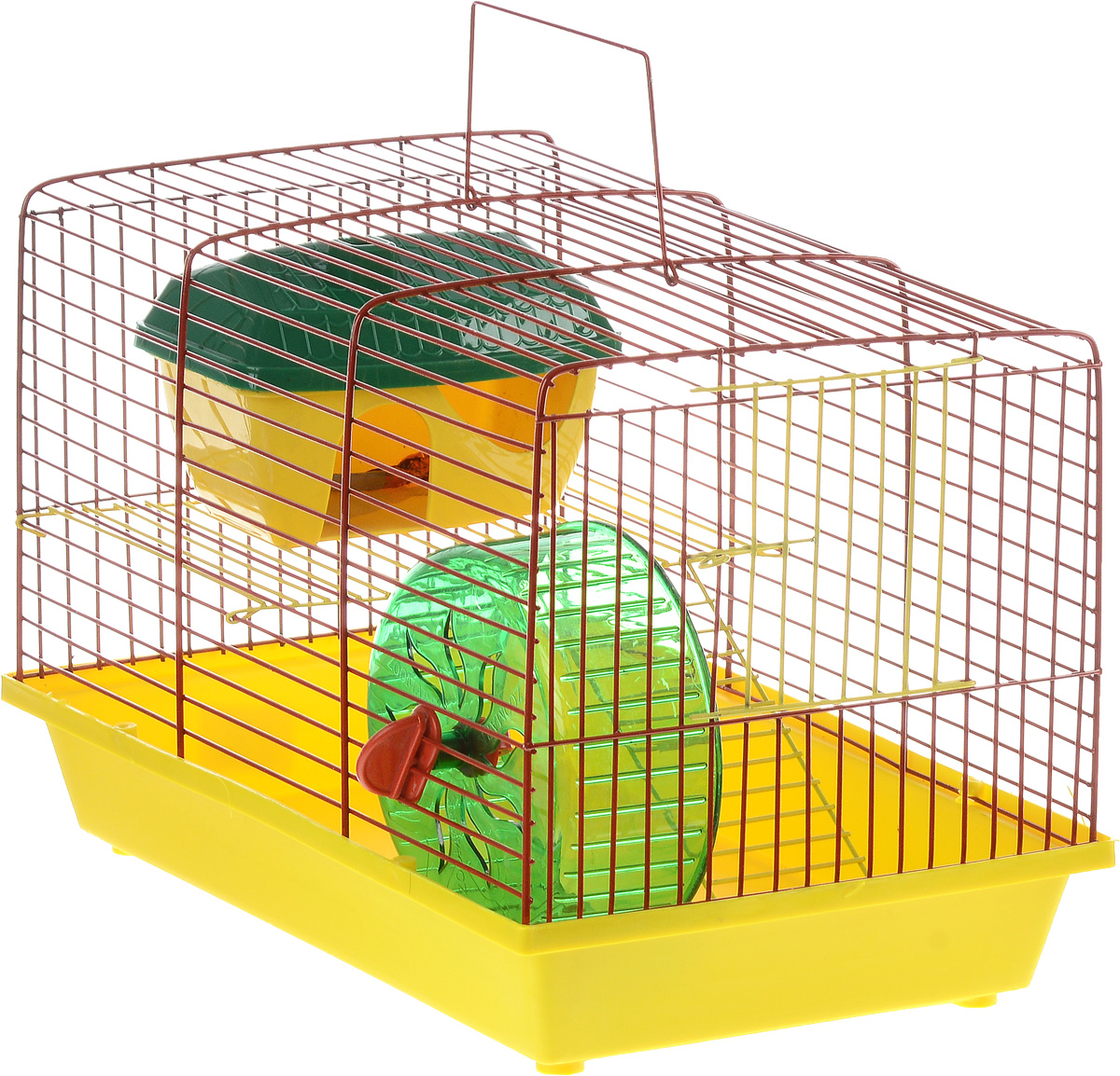 Клетка для грызунов ЗооМарк, 2-этажная, цвет: желтый поддон, красная решетка, желтый этаж, 36 х 22 х 24 см240жКОКлетка ЗооМарк, выполненная из полипропилена и металла, подходит для мелких грызунов. Изделие двухэтажное, оборудовано колесом для подвижных игр и пластиковым домиком. Клетка имеет яркий поддон, удобна в использовании и легко чистится. Сверху имеется ручка для переноски. Такая клетка станет уединенным личным пространством и уютным домиком для маленького грызуна.