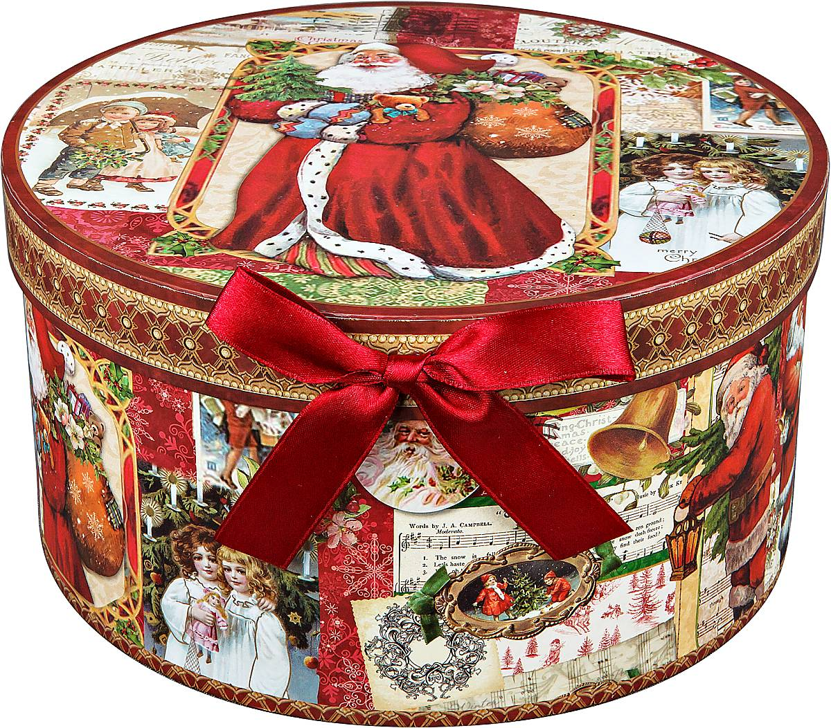 Коробка подарочная новогодняя Mister Christmas Дед Мороз и дети, круглая, 23 х 23 х 12 смBAL 137Круглая картонная коробка Mister Christmas Дед Мороз и дети - это один из самых распространенных вариантов упаковки подарков. Любой, даже самый нестандартный подарок упакованный в такую коробку, создаст момент легкой интриги, а плотный картон сохранит содержимое в первоначальном виде. Оригинальный дизайн самой коробки будет долго напоминать владельцу о трогательных моментах получения подарка.