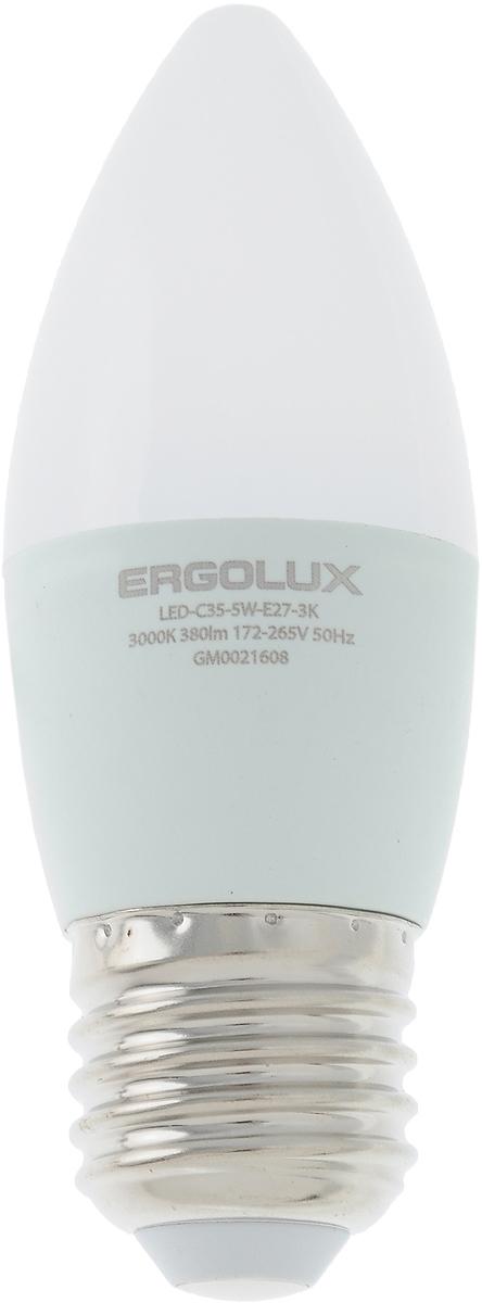 Лампа светодиодная Ergolux LED-C35-5W-E27-3K, теплый свет, цоколь Е27, 5 ВтC0044702Лампа светодиодная Ergolux - новое решение в светотехнике. Светодиодная лампа экономит до 90% электроэнергии благодаря низкой потребляемой мощности. Лампа не содержит ртути и других вредных веществ, экологически безопасна и не требует утилизации. Срок службы в 2,5-3 раза дольше энергосберегающей лампы и в 30 раз дольше лампы накаливания. Обладает высокой ударопрочностью благодаря корпусу из пластика и металла. Мгновенно включается, не мерцает во время работы. Светодиодные лампы идеально подходят для основного и акцентного освещения интерьеров, витрин, декоративной подсветки. Кроме того, они создают уютную атмосферу и позволяют экономить электроэнергию уже с первого дня использования. Тип: Candle C35. Эффективность: 76 лм/Вт. Напряжение: 172-265 В. Индекс цветопередачи (Ra): 77+.Угол светового пучка: 220°. Использовать при температуре: от -30° до +40°.Коэффициент пульсации: <5%.