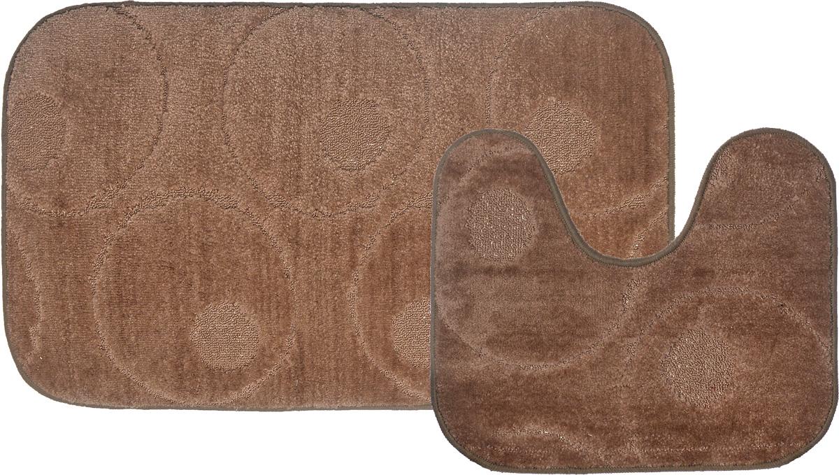 Набор ковриков для ванной MAC Carpet Рома. Круги, цвет: темно-бежевый, 60 х 100 см, 50 х 60 см, 2 шт68/5/3Набор MAC Carpet Рома. Круги состоит из двух ковриков для ванной комнаты, один из которых имеет вырез под унитаз. Ворс выполнен из полипропилена. Противоскользящее основание изготовлено из термопластичной резины. Коврики мягкие и приятные на ощупь, отлично впитывают влагу и быстро сохнут. Высокая износостойкость ковриков и стойкость цвета позволит вам наслаждаться покупкой долгие годы.