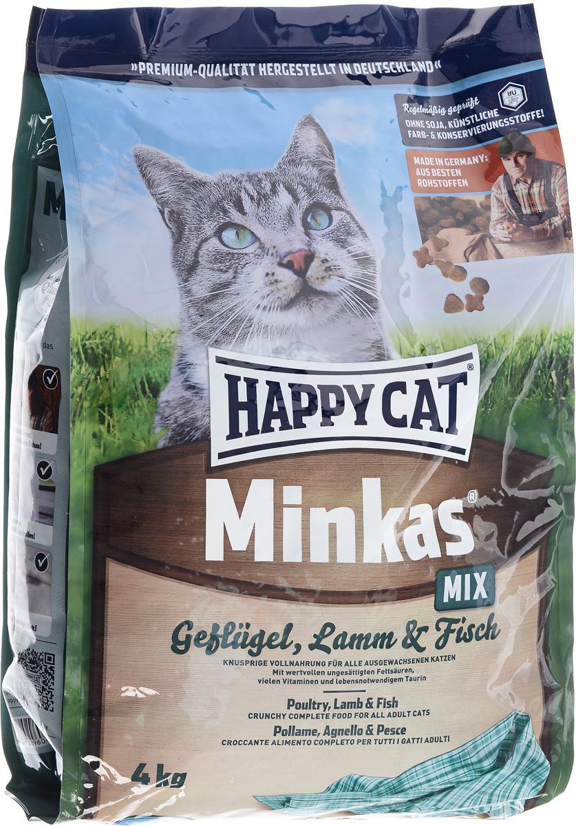 Корм сухой Happy Cat Minkas Mix для взрослых кошек, с птицей, ягненком и рыбой, 4 кг90070002Happy Cat Minkas Mix – это полноценный базовый корм для взрослых кошек. Благодаря ценным белкам из мяса птицы, ягненка и рыбы, отсутствию сои и высококачественным хрустящим злаковым составляющим этот продукт нравится кошкам и легко усваивается.Состав: птица (24,5%), пшеничная мука, пшеница, кукуруза, птичий жир (5%), рыба (2,5%), ягненок (2,5%), картофельный белок, свекловичный жом (без сахара), гемоглобин, масло из семян подсолнечника, яблочная пульпа. Аналитические составляющие: протеин - 30%, жир - 12%, клетчатка - 2,5%, зола - 6,5%. Добавки: витамин А - 15000 МЕ, Витамин D3 - 1250 МЕ, таурин - 1000 МЕ. Товар сертифицирован.
